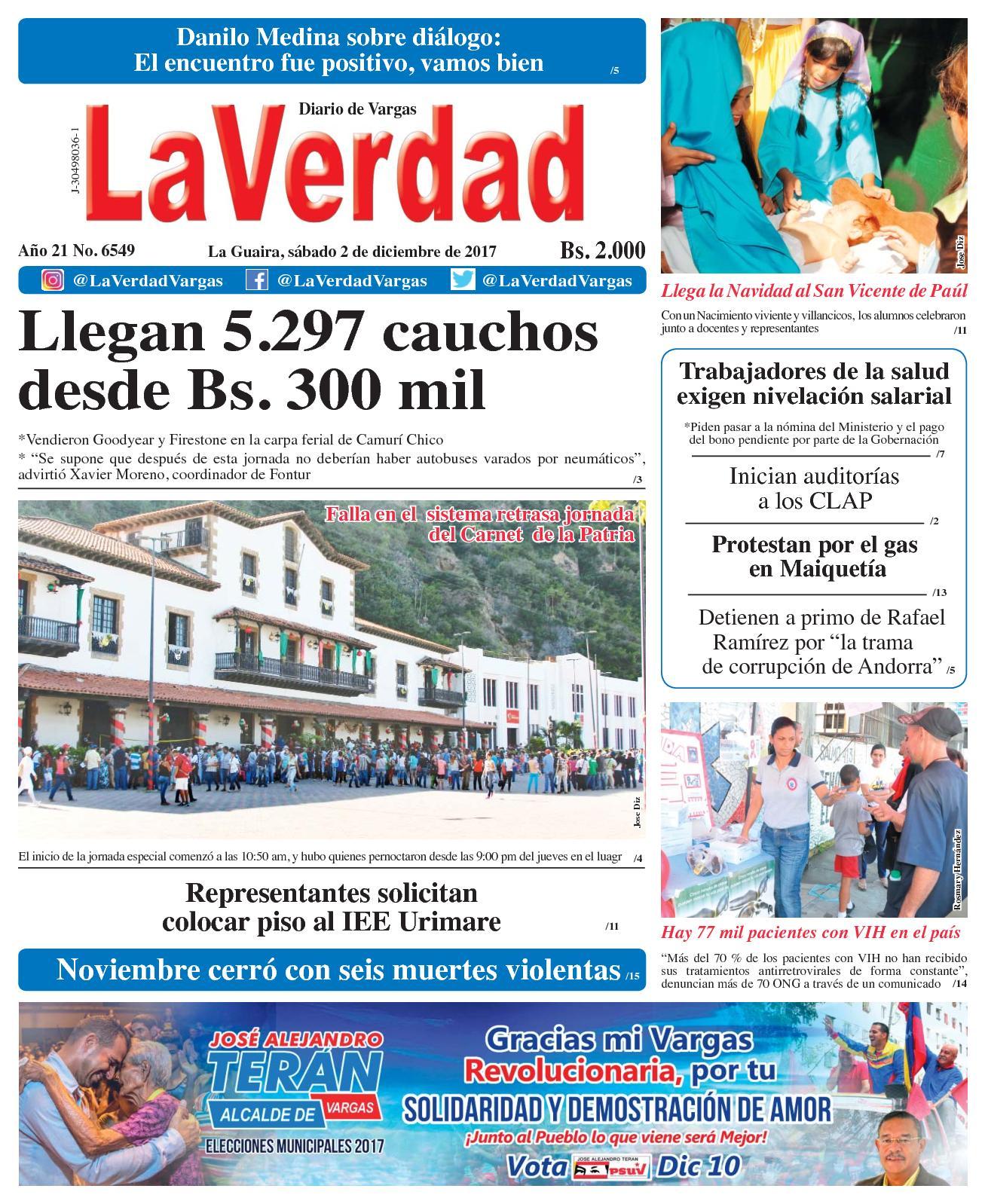 La Guaira, Sábado 02 De Diciembre De 2017 Año 20 No 6548