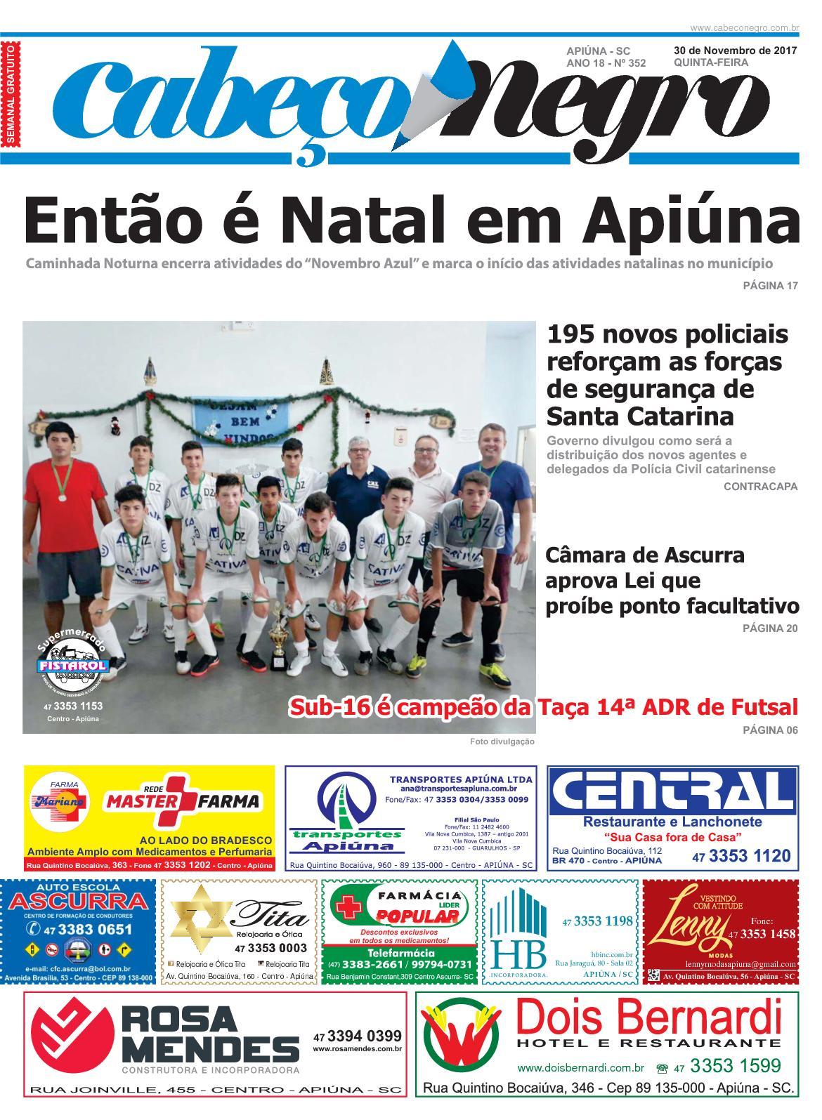 Jornal CABEÇO NEGRO - Edição 352 30NOV2017