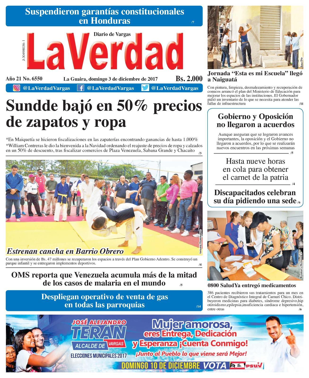 Calaméo - La Guaira, domingo 03 de diciembre De 2017 . Año 20 No 6550