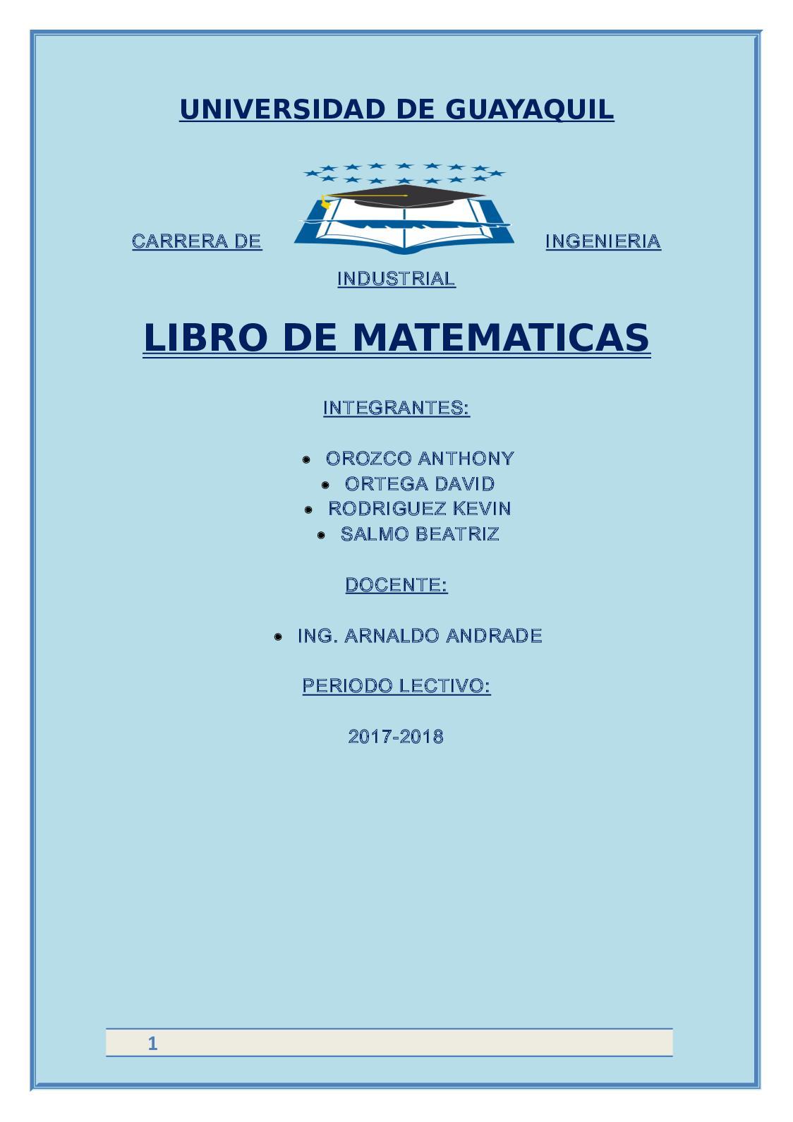 Libro De Matematicas #1