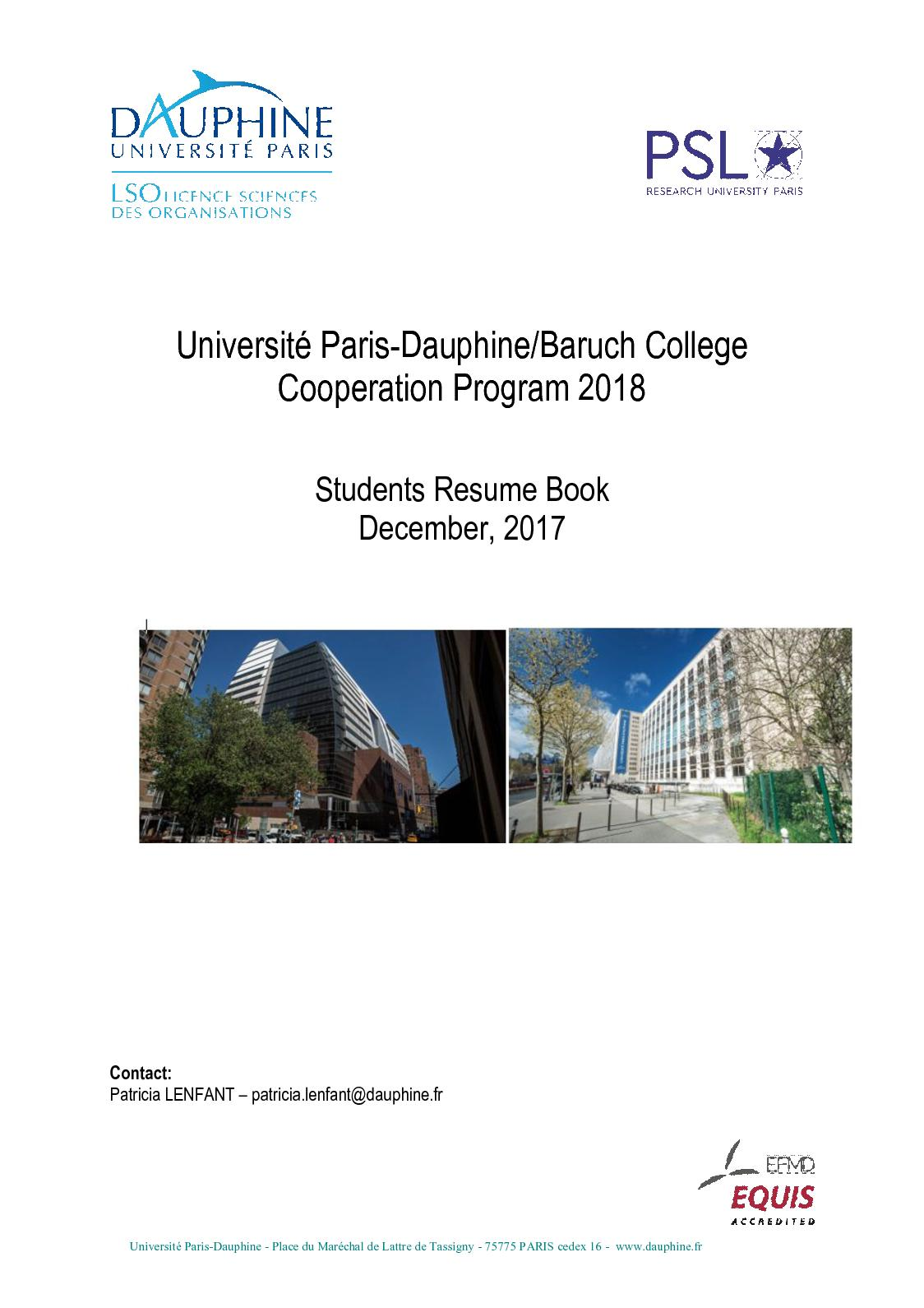 calamo baruch dauphine book of resume 2018 - Resume Francais Bac Science