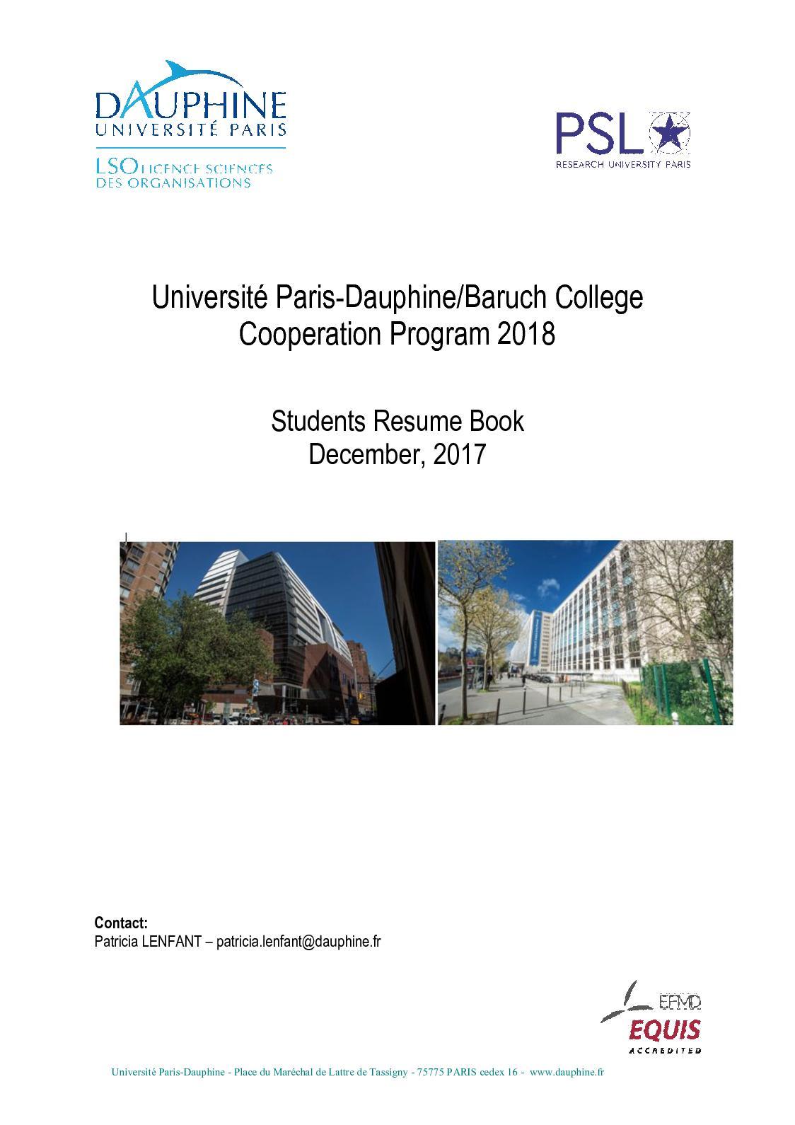 Calamo Baruch Dauphine Book Of Resume 2018