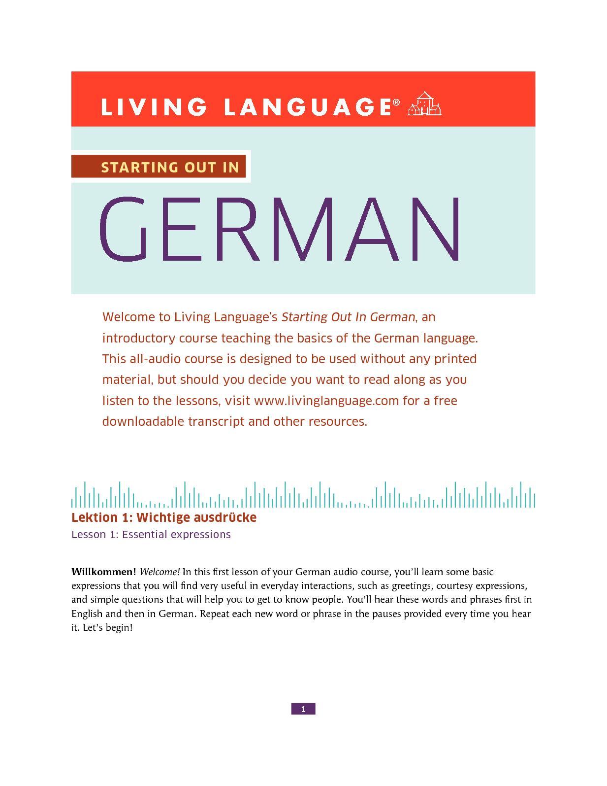 Calamo Living Language Starting Out In German