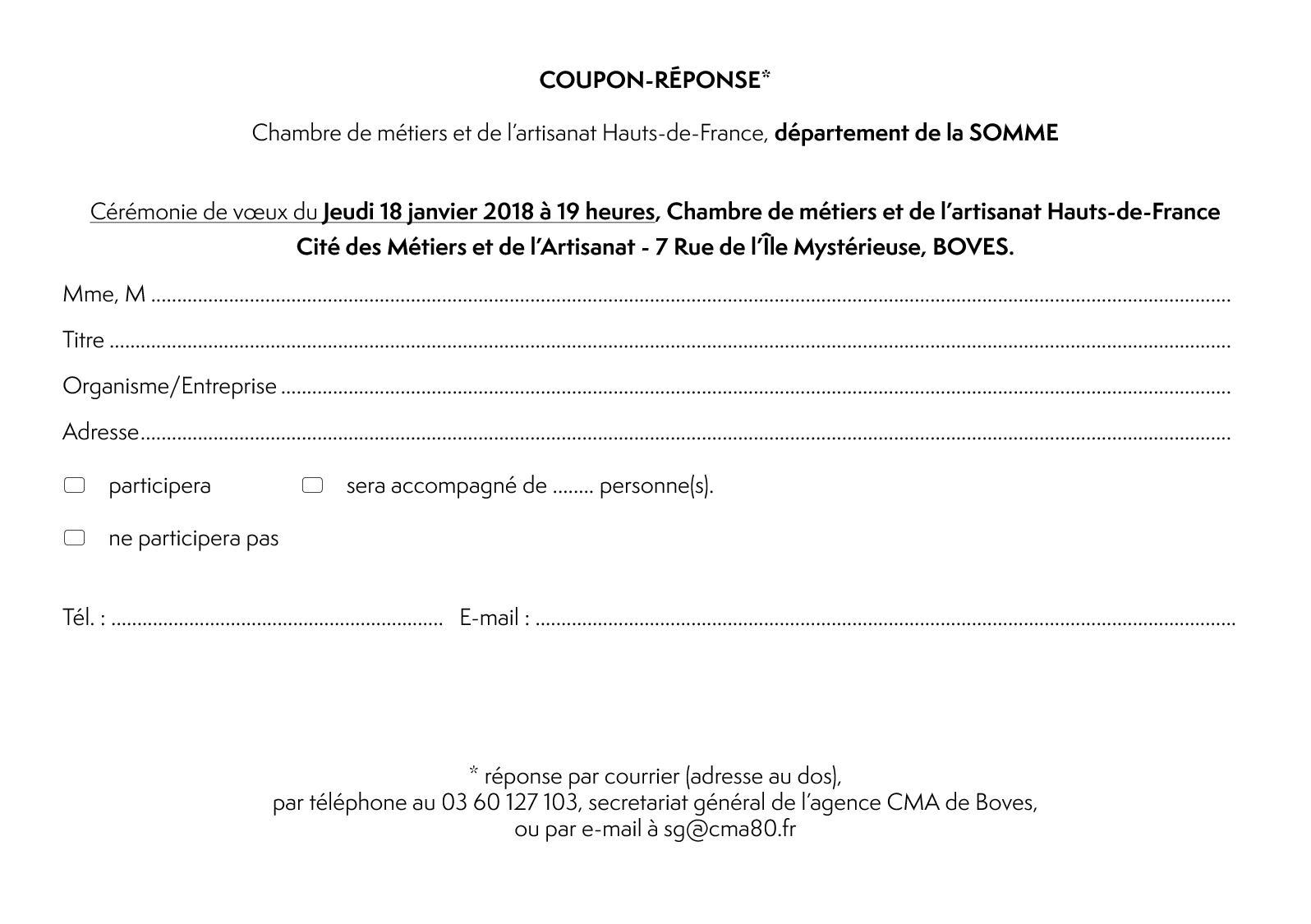 Calam o boves coupon reponse voeux 2018 - Chambre des metiers de la somme ...