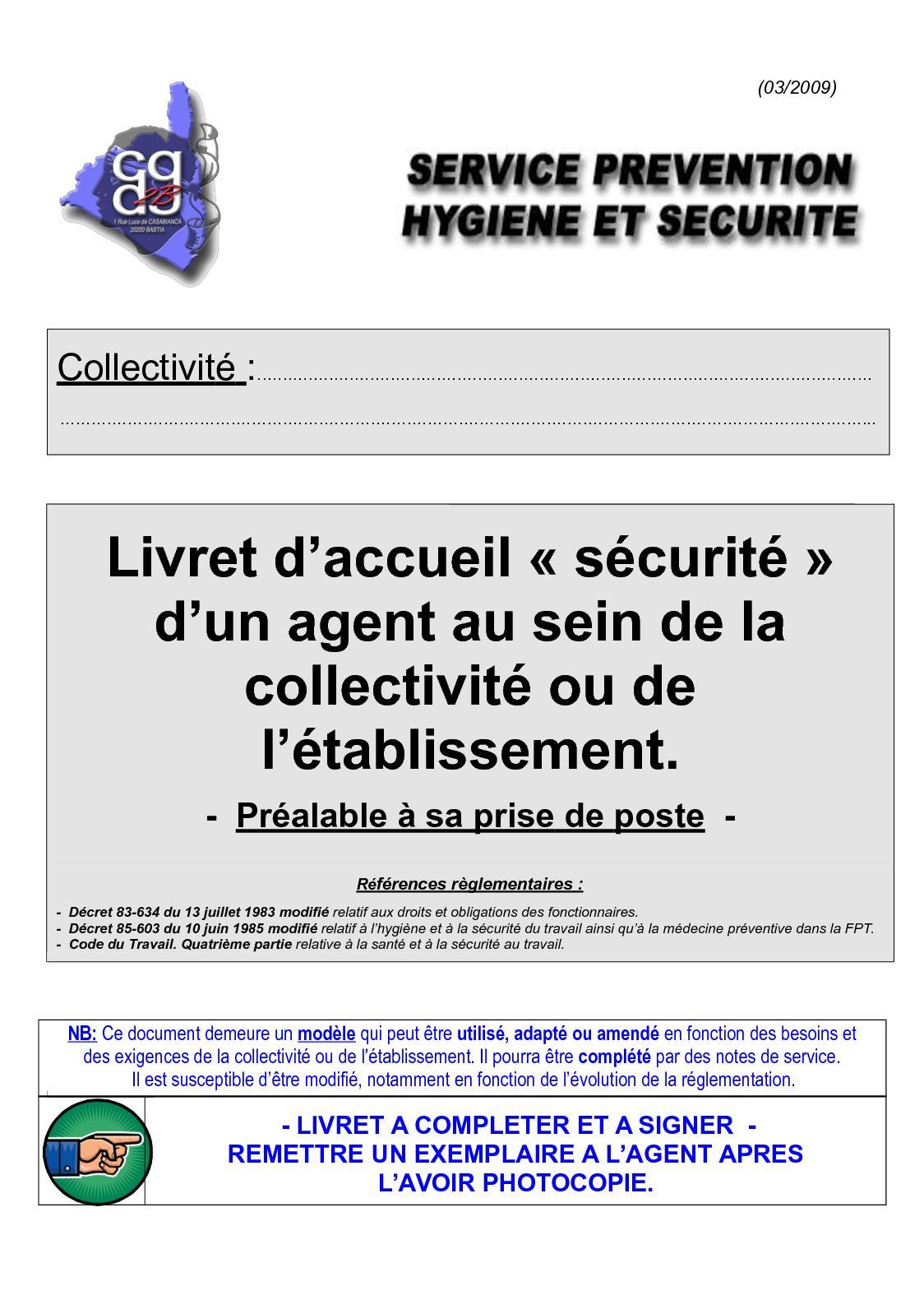 afa8178c626 Calaméo - 17 Livret D accueil Sécurité Des Agents