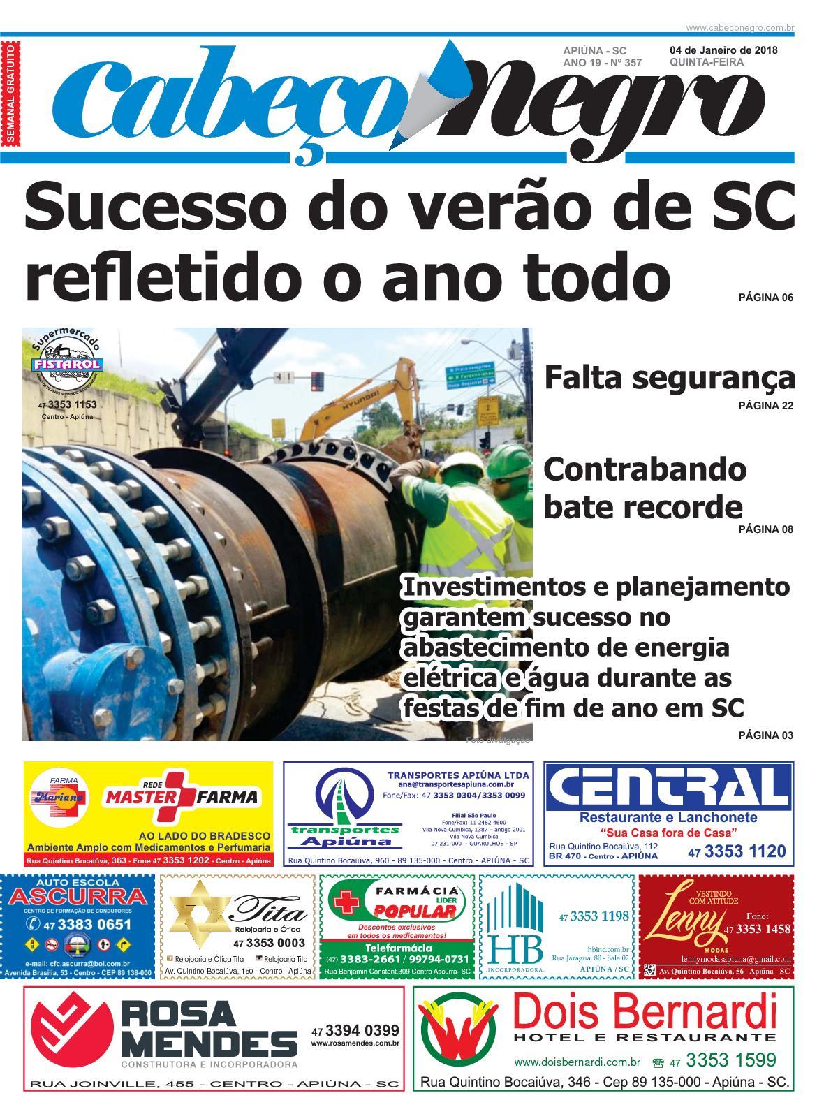 Jornal CABEÇO NEGRO - Edição 357 04JAN2018