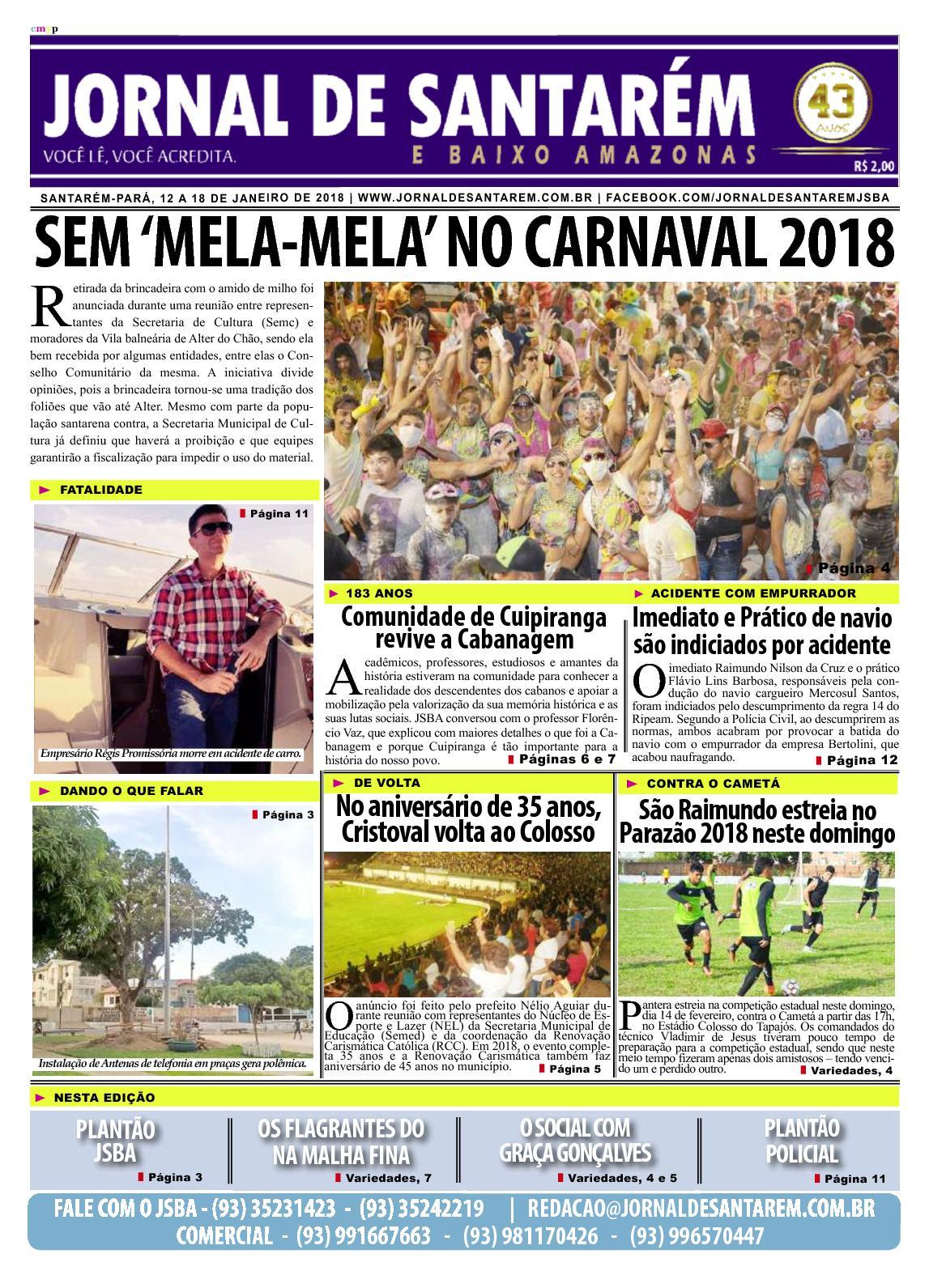 JORNAL DE SANTARÉM E BAIXO AMAZONAS EDIÇÃO DE 12 A 18 DE JANEIRO DE 2018