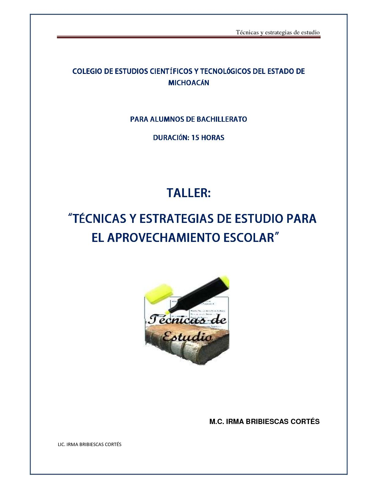 Calaméo - Taller De Tecnicas Y Estrategias De Estudio