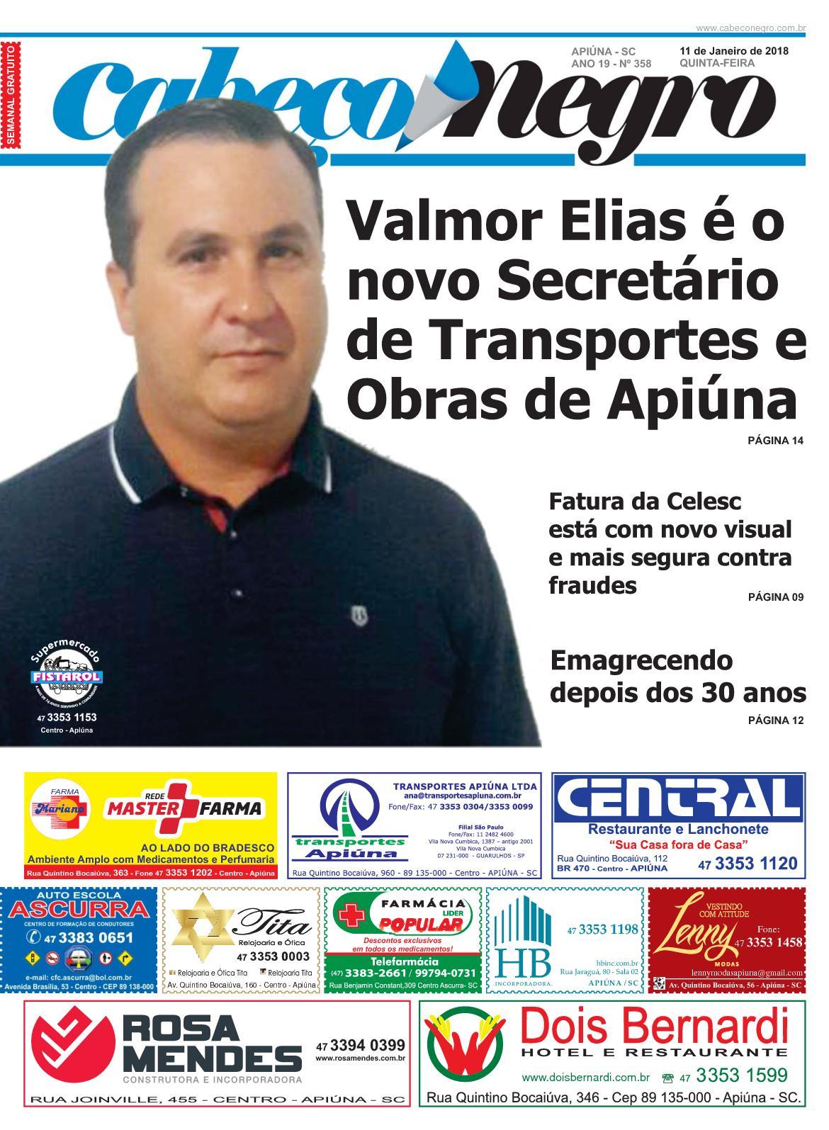 Jornal CABEÇO NEGRO - Edição 358 11JAN2018