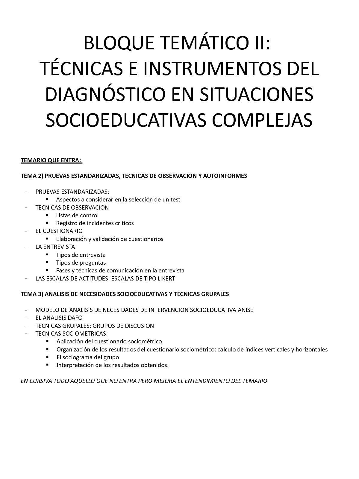 Técnicas e instrumentos del diagnóstico en situaciones socioeducativas complejas