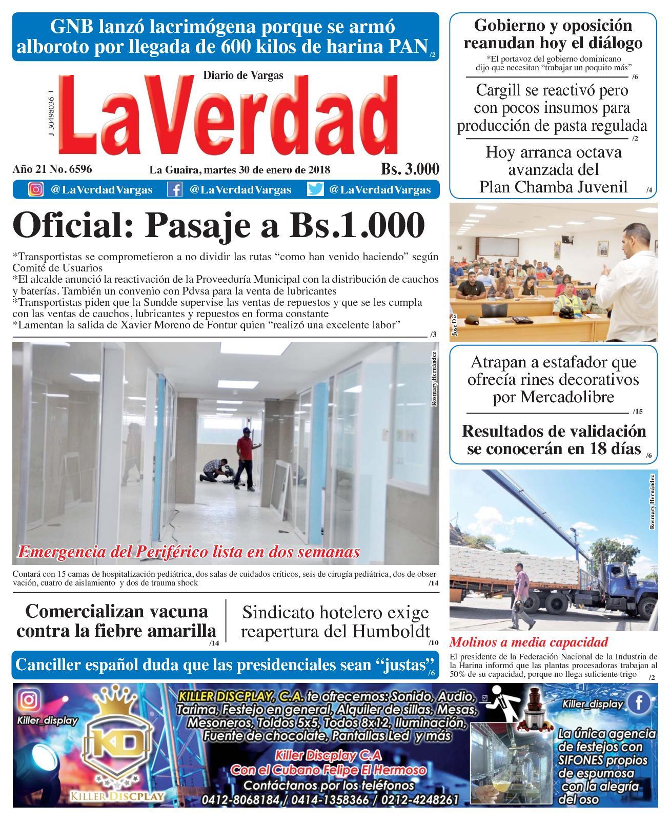 Calaméo - La Guaira, martes 30 de enero de 2018. Año 20 No 6596