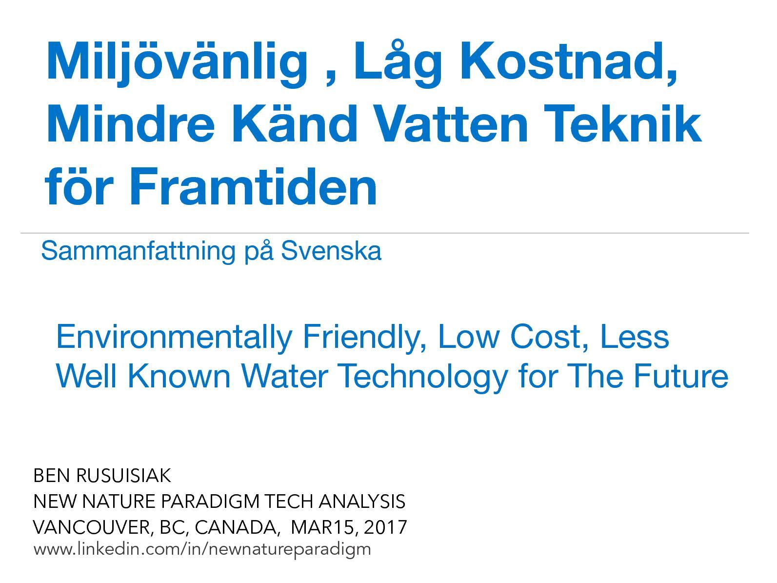 Calamo Miljvnlig Lg Kostnad Mindre Knd Vatten Teknik Fr