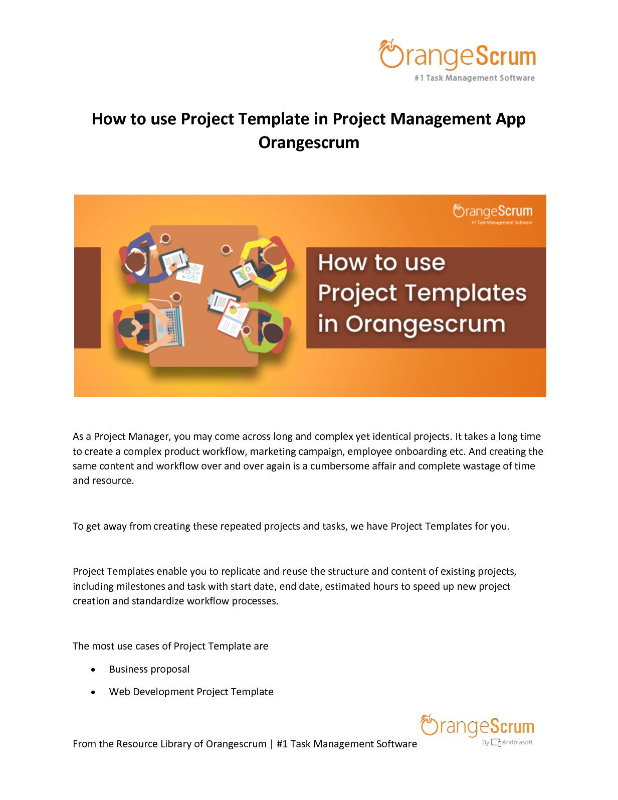 Calameo How To Use Project Template In Project Management App