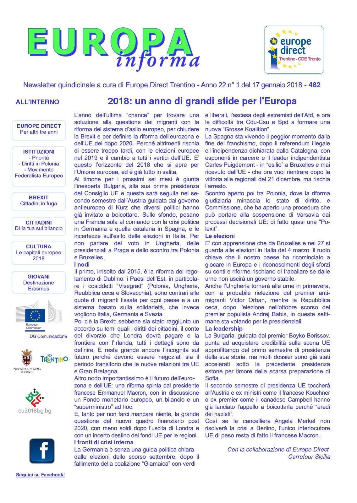 Calaméo Newsletter Europa Informa N 482 Del 17 Gennaio 2018