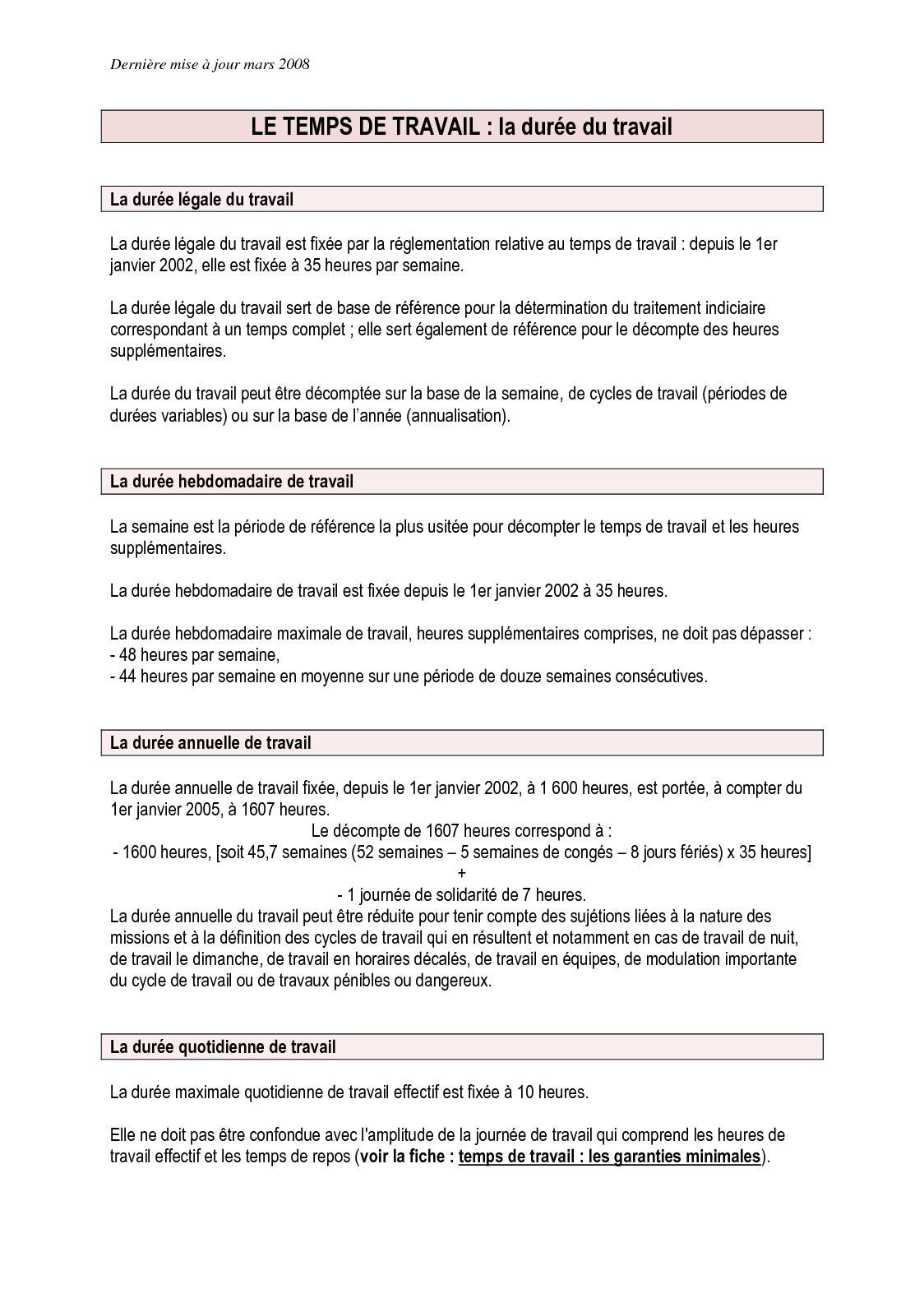 Calameo Temps De Travail Fonction Publique Territoriale