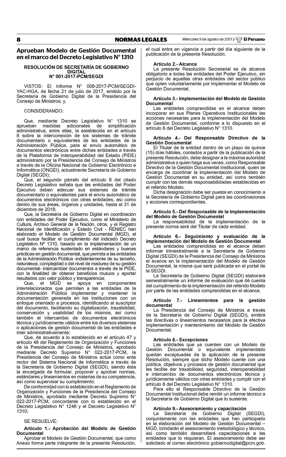 Calaméo - RS 001 2017 PCM SEGDI MODELO DE GESTION DOCUMENTAL