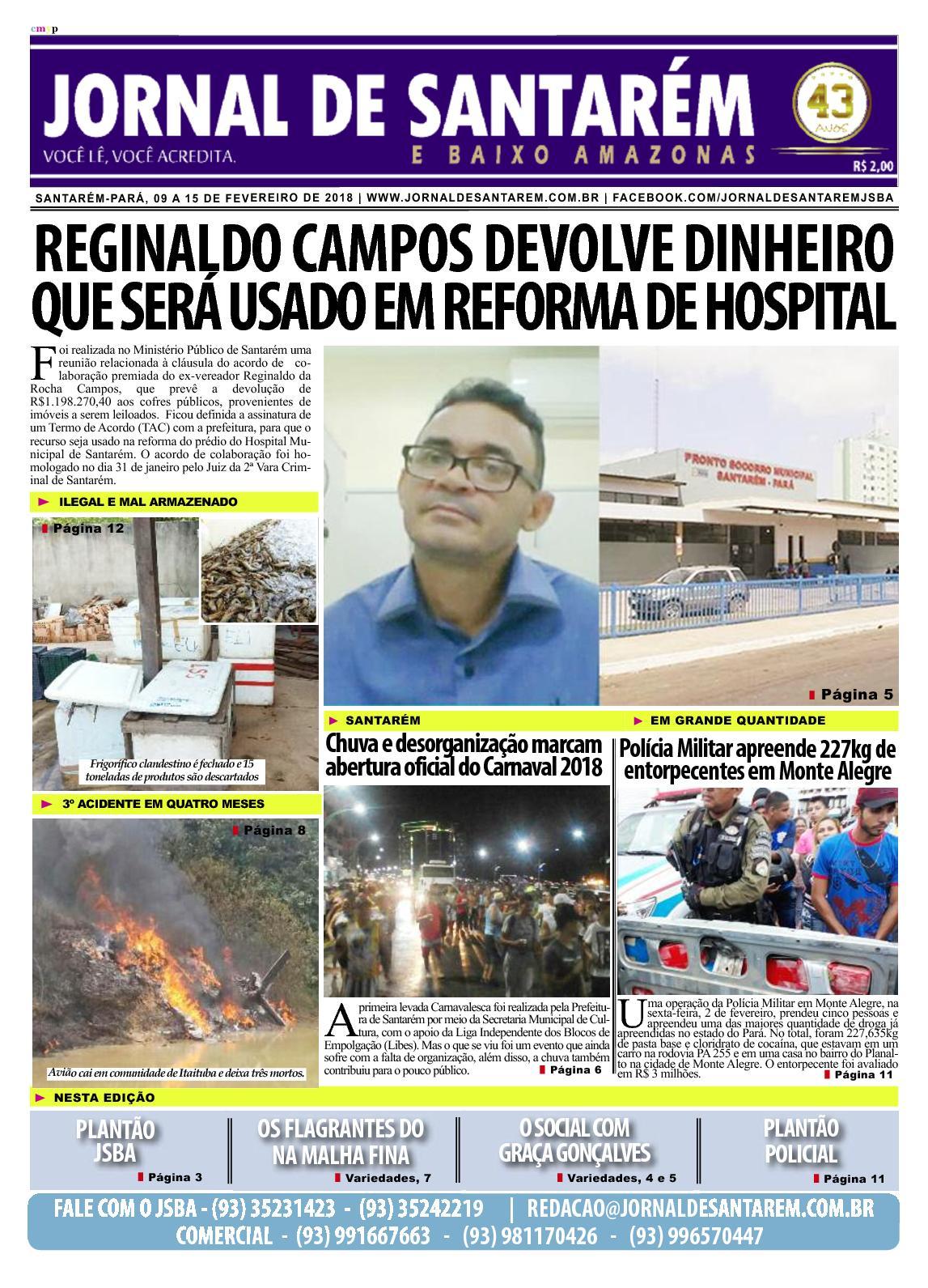JORNAL DE SANTARÉM E BAIXO AMAZONAS EDIÇÃO DE 09 A 15 DE FEVEREIRO DE 2018
