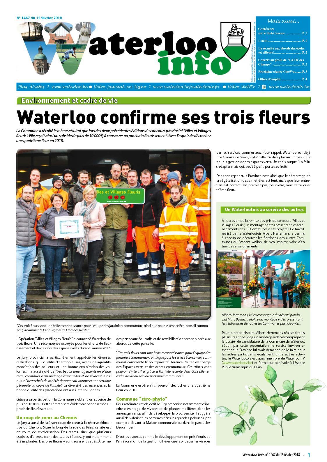 Waterloo Info n°1467 du 15 février 2018