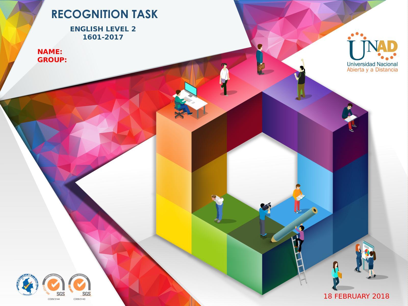 English Level 2 Recognition Task Portfolio Template