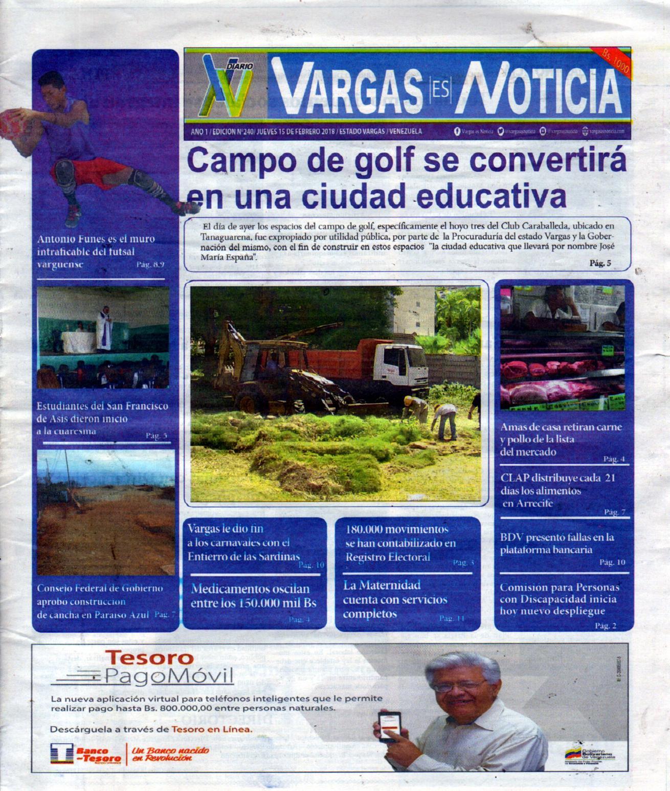 Vargas es Noticia, jueves 15  de febrero de 2018 N° 240