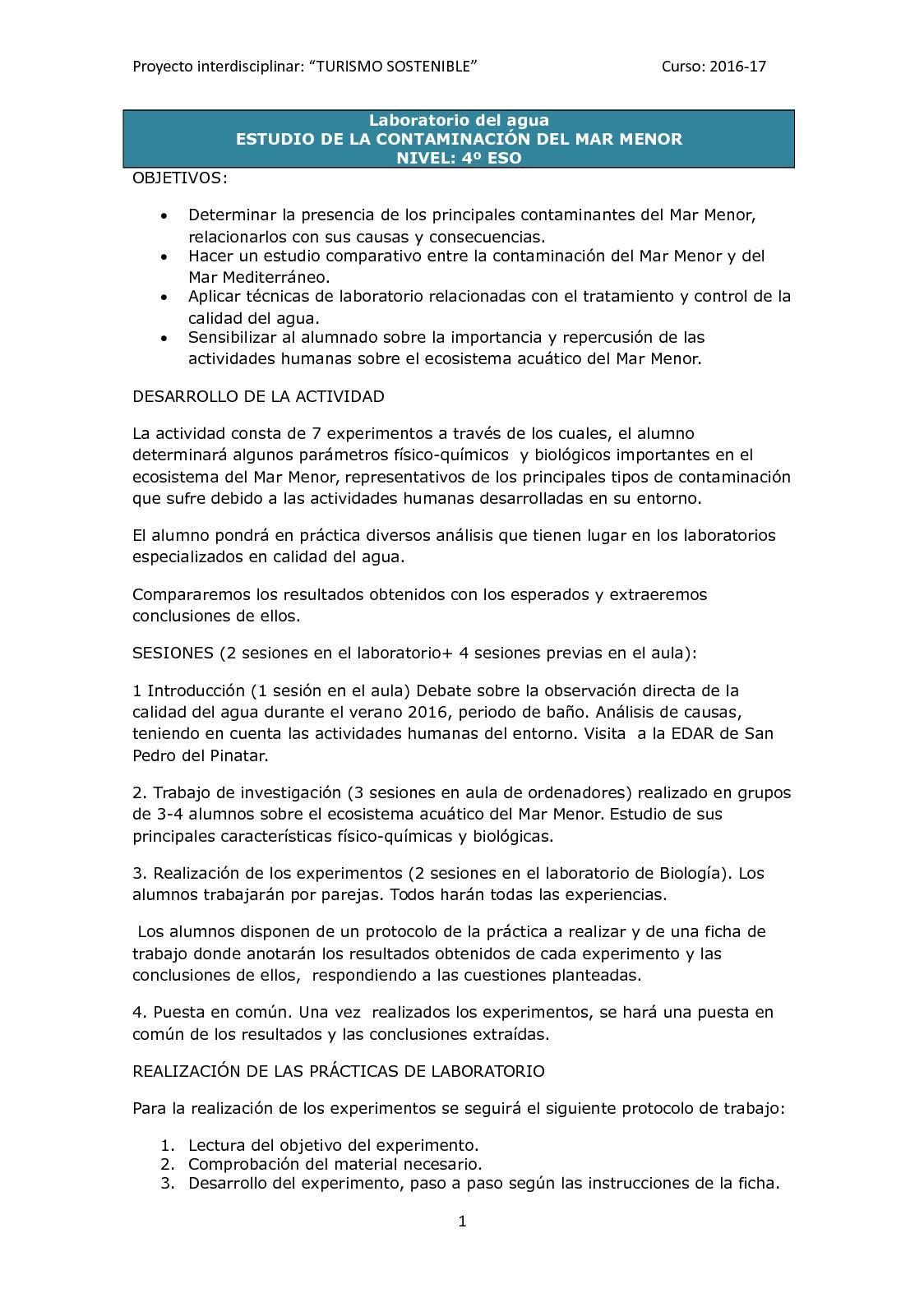 Calaméo - Proyecto Laboratorio Del Agua. ESTUDIO DE LA CONTAMINACIÓN ...