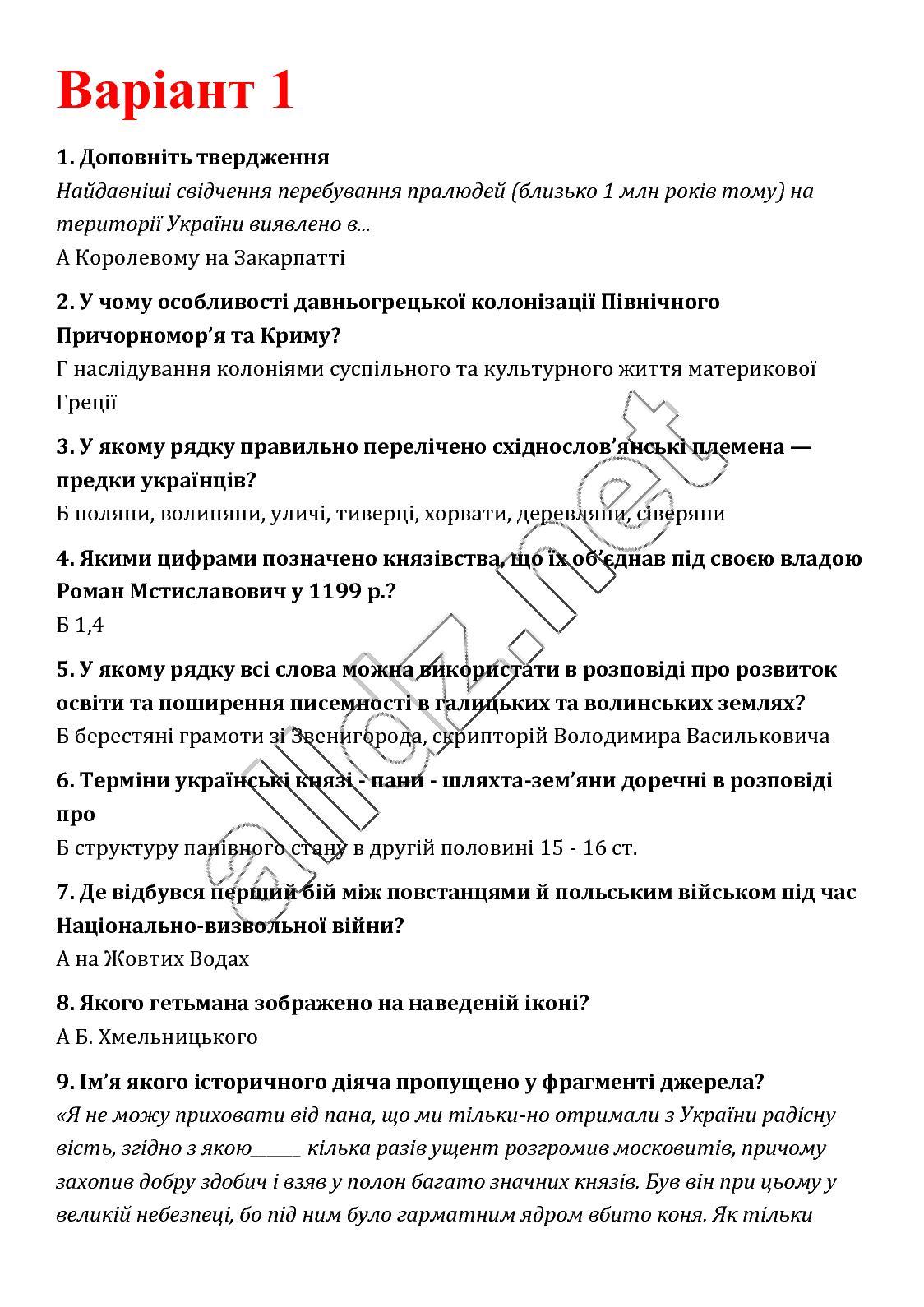 ДПА 2018 9 клас Історія України Власов Відповіді до збірника завдань