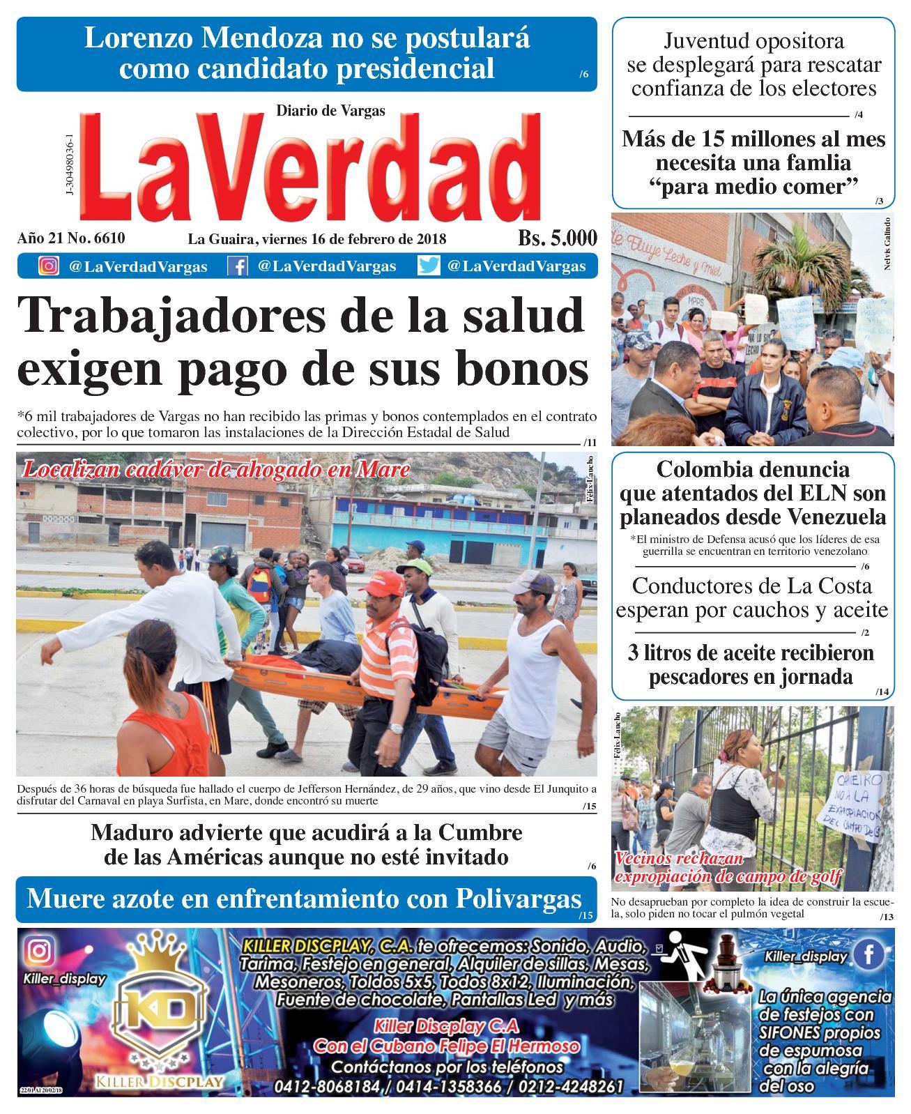 La Guaira, viernes 16 de febrero de 2018. Año 20 No 6610