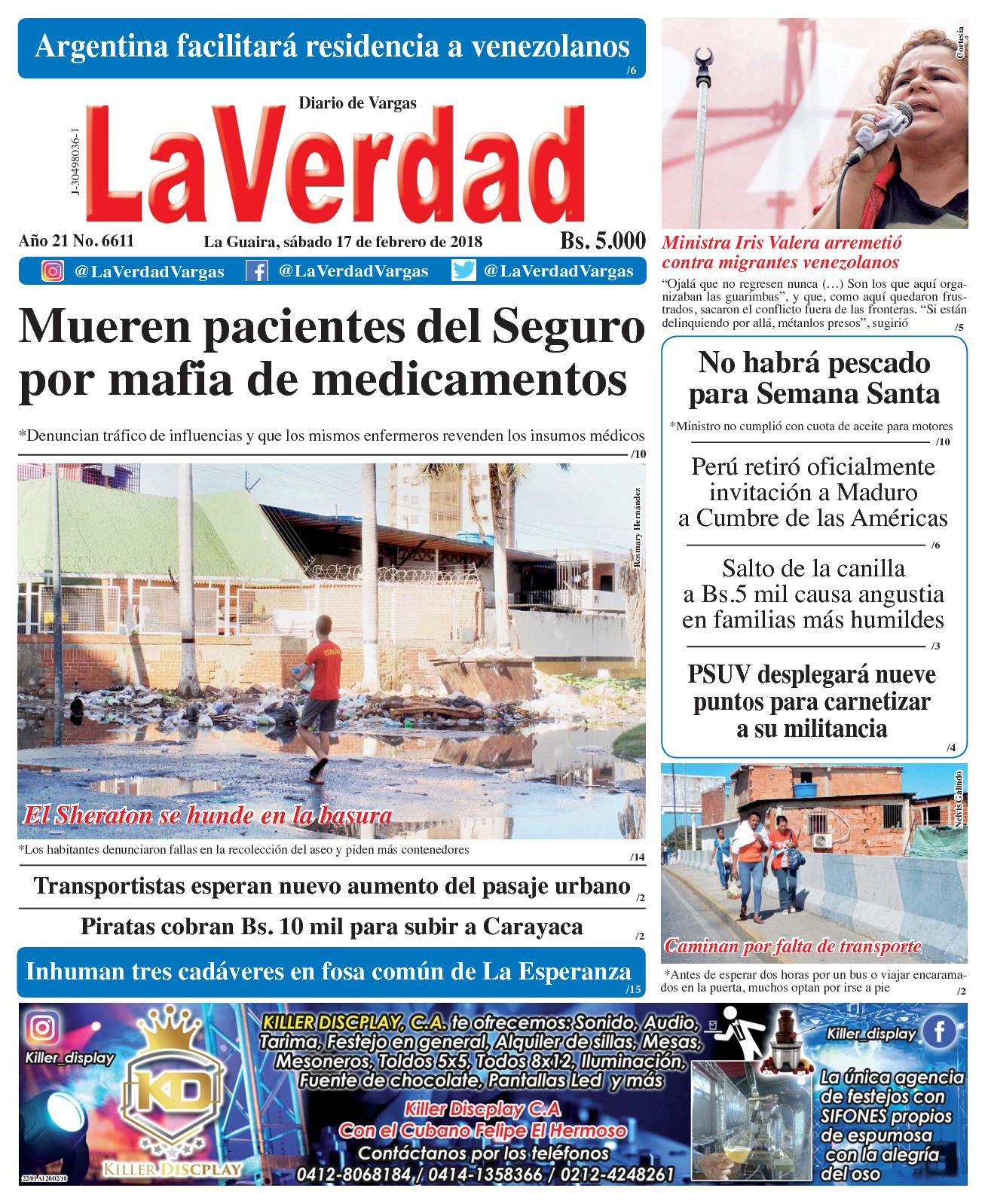 La Guaira, sábado 17 de febrero de 2018. Año 20 No 6611