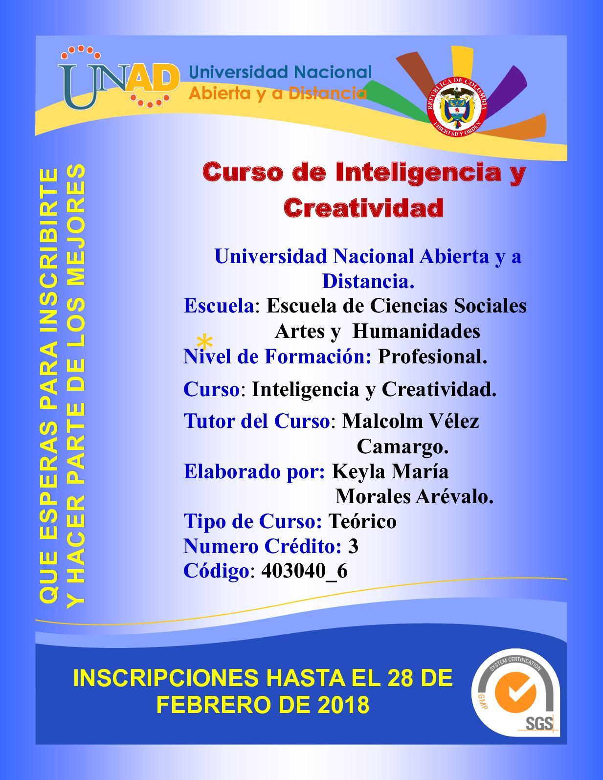 Folleto Promocional Inteligencia Y Creatividad Keyla Morales