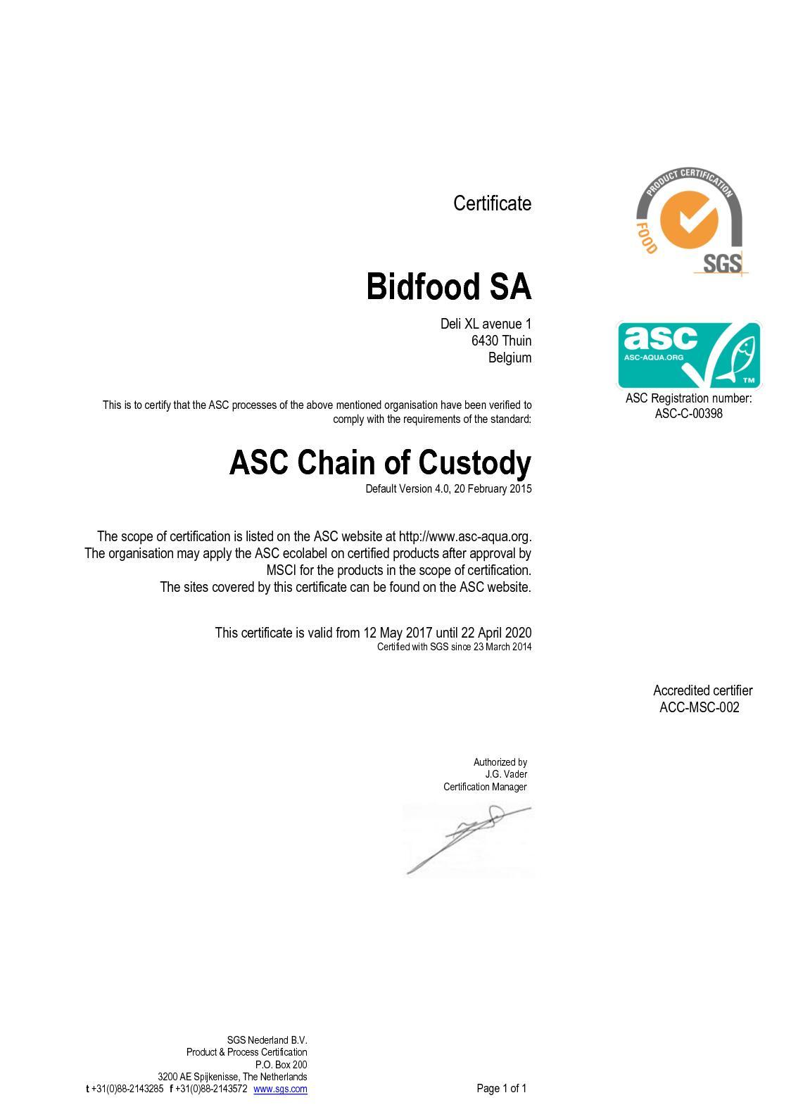 Calamo 20170516 Bidfood Sa Certificaat Asc V4 Ms Sites Excl Jack