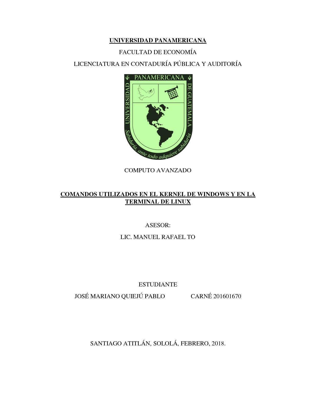 Mariano Quiejú, Comandos De Los Sistemas Operativos