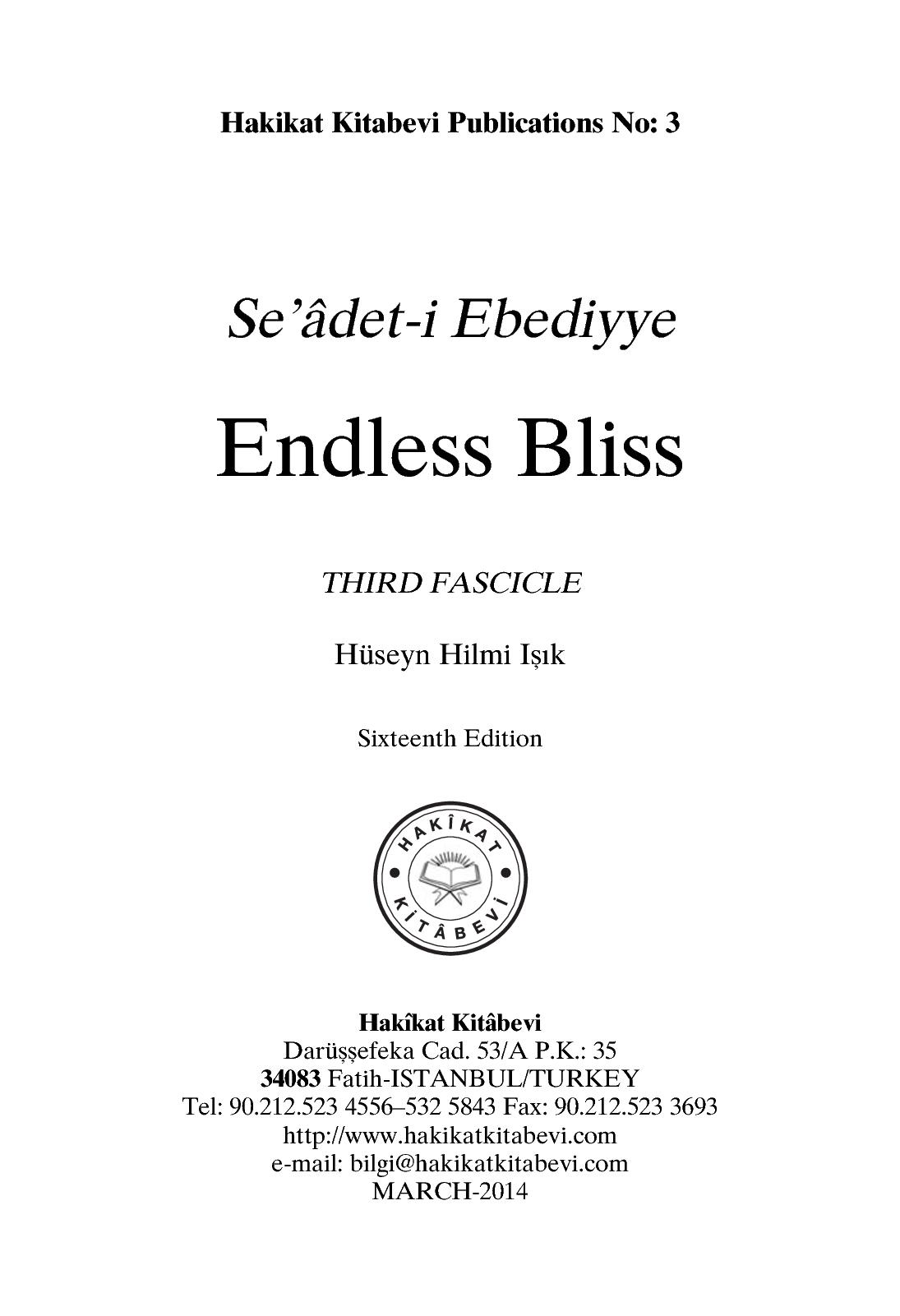 Calamo Seadet I Ebediyye Endless Bliss Third Fascicle Stambul Qur An Mini 30 Juz