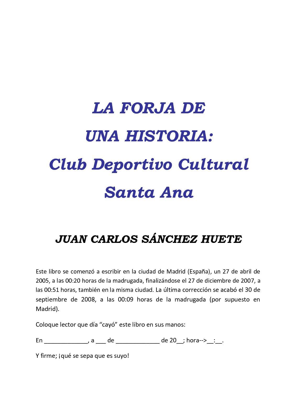 Calaméo - La Forja de una Historia: Club Deportivo Cultural Santa Ana