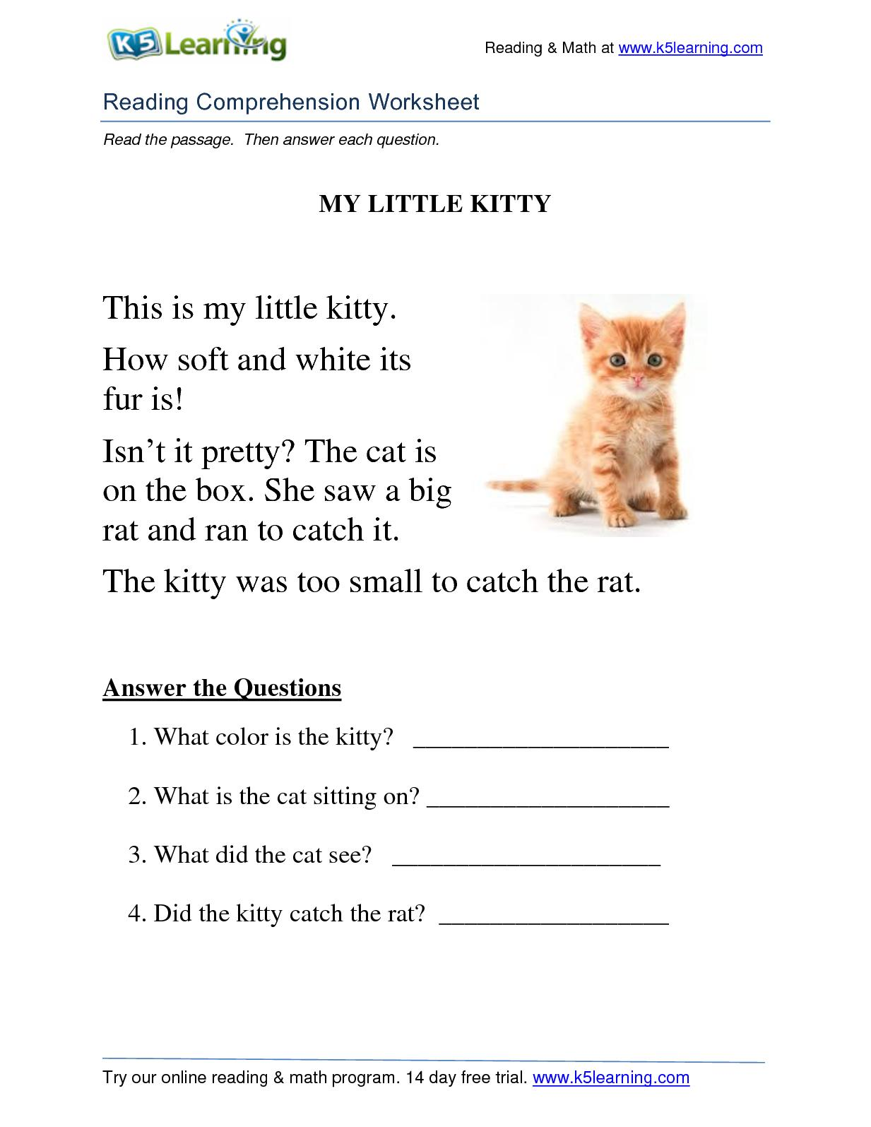 Calaméo - Reading Comprehension Worksheet Grade 1 Kitty