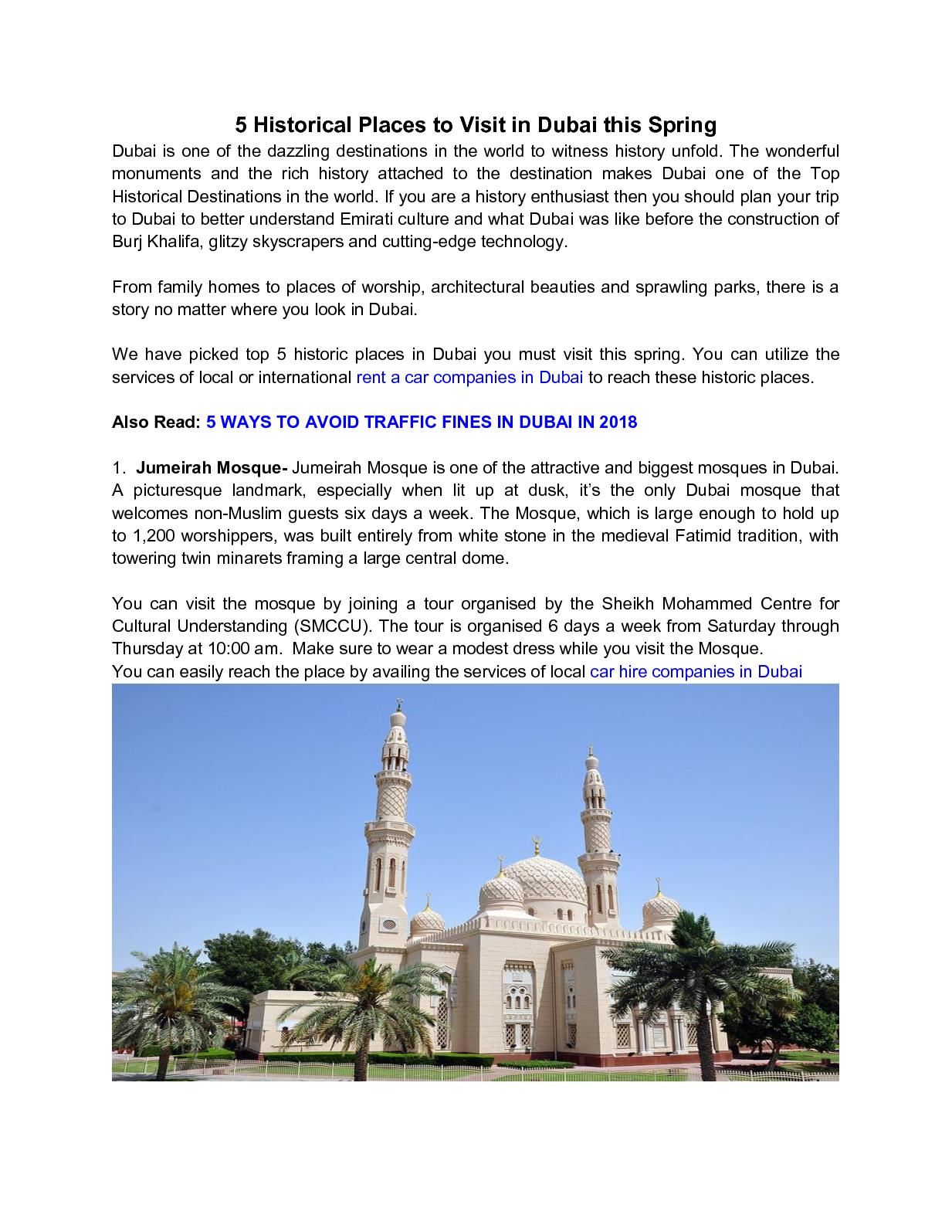Calaméo - 5 Historical Places To Visit In Dubai This Spring