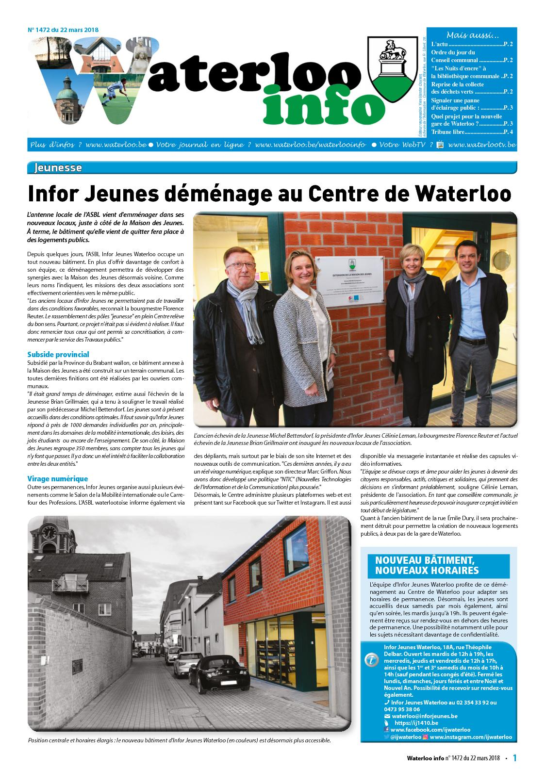 Waterloo Info n°1472 du 22 mars 2018