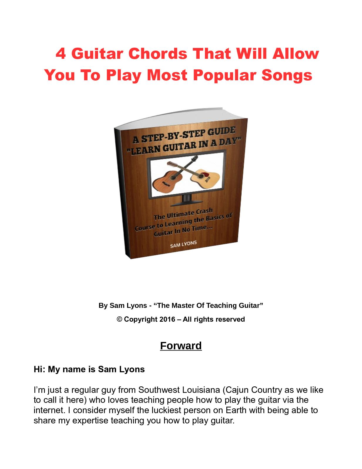 Calamo 4 Guitar Chords That Will Allow You To Play Most Popular Songs
