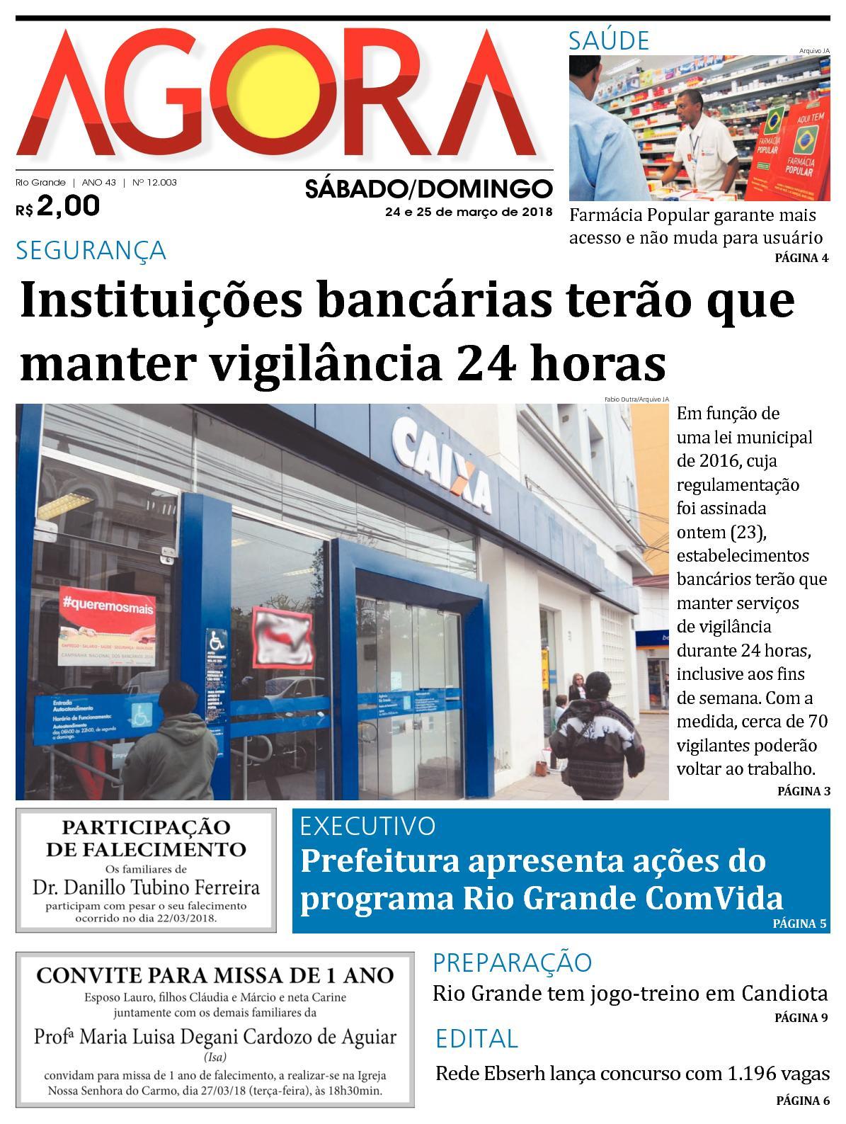 7f62c2e14b2 Calaméo - Jornal Agora - Edição 12003 - 24 e 25 de Março de 2018