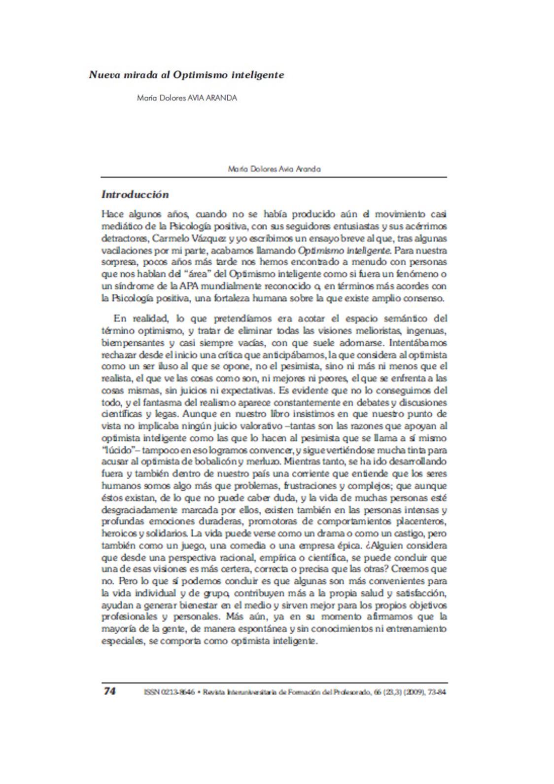 Optimismo Inteligente, Avia Aranda, 2009