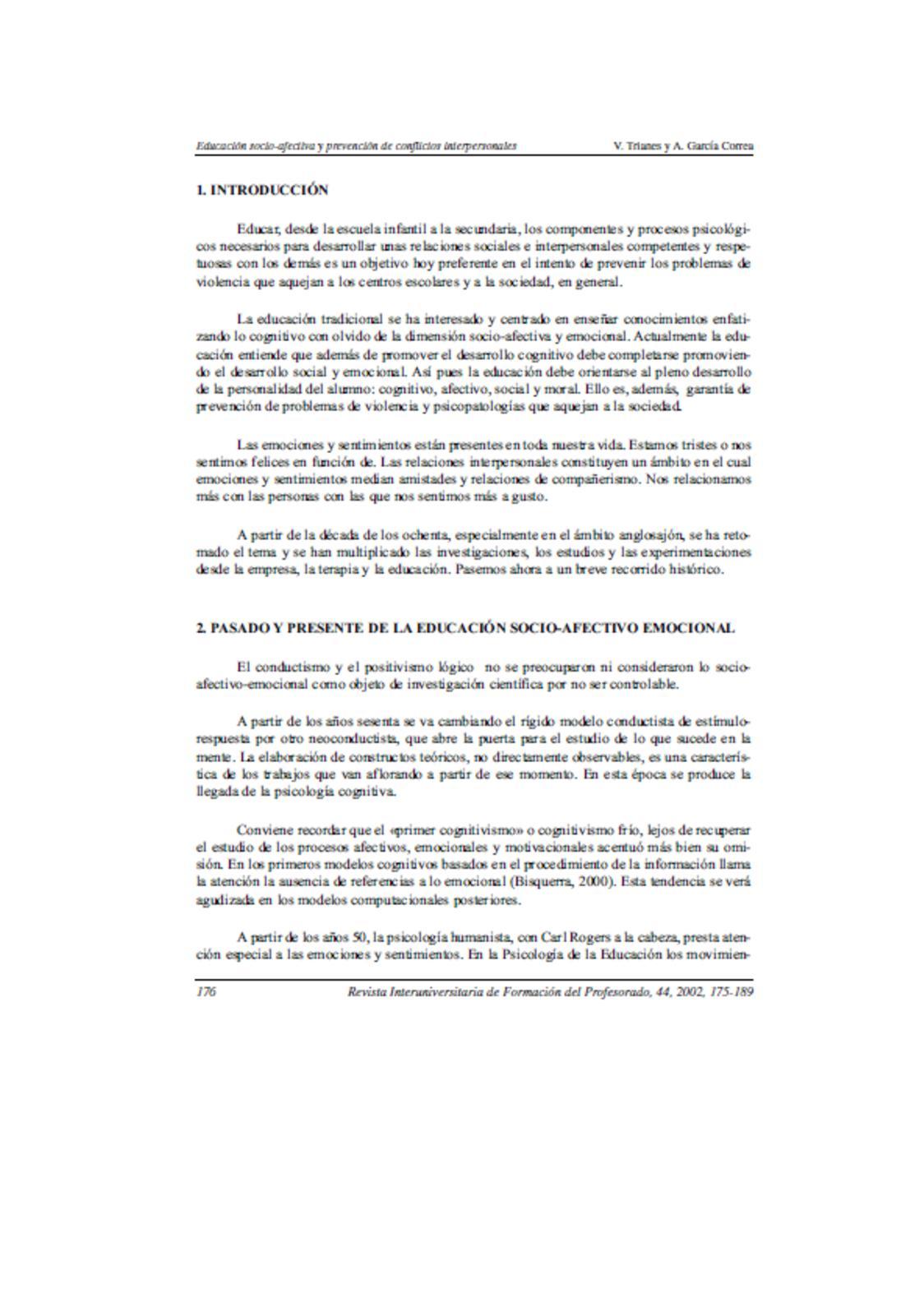 Educación Socio Afectiva y prevención de conflictos