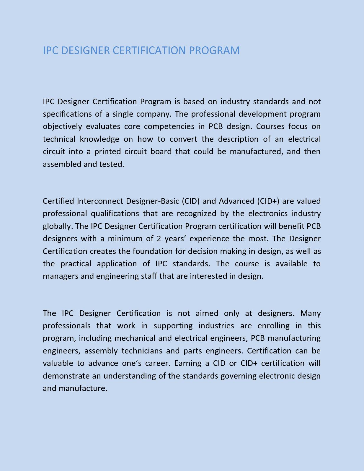 Calamo Ipc Designer Certification Program