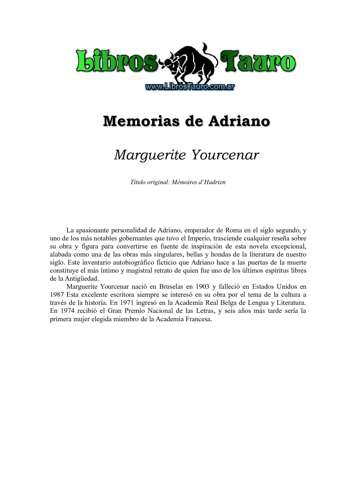 Calaméo - Yourcenar, Marguerite - Memorias De Adriano