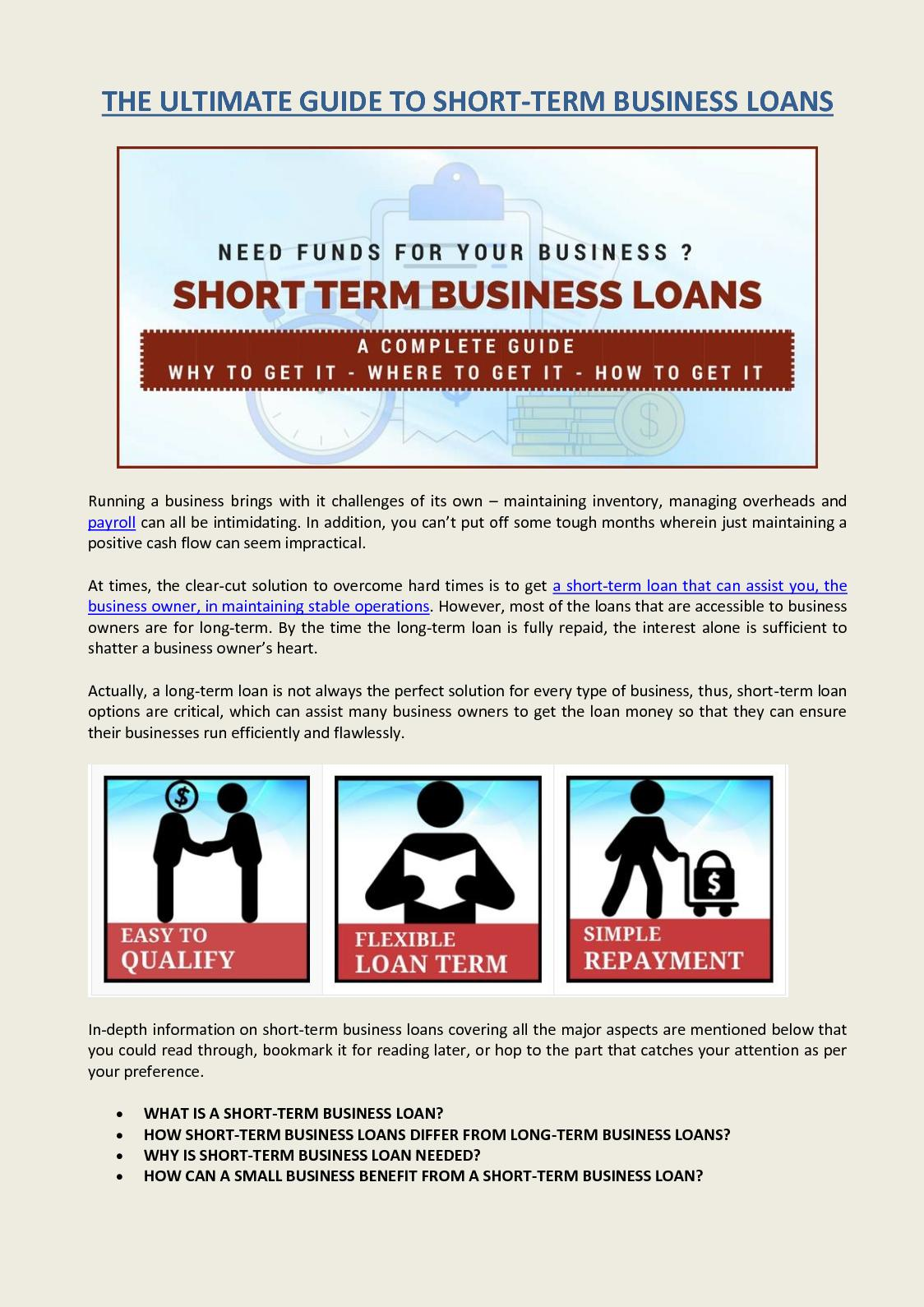 calaméo the ultimate guide to short term business loans
