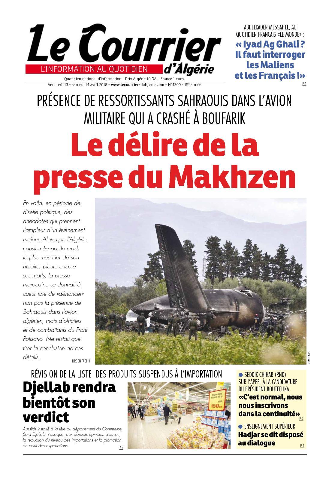 Le Courrier D'Algérie Du Samedi 14 Avril 2018