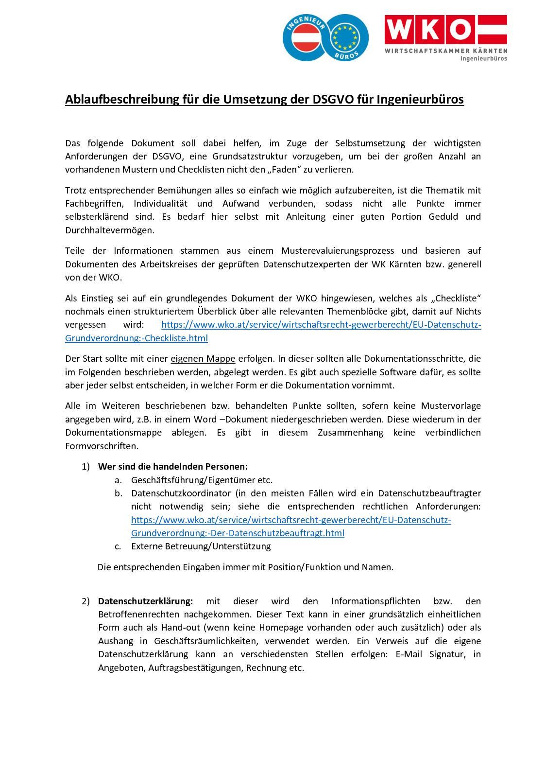 calamo ablaufbeschreibung fr die umsetzung der dsgvo fr ingenieurbros - Datenschutzerklarung Muster