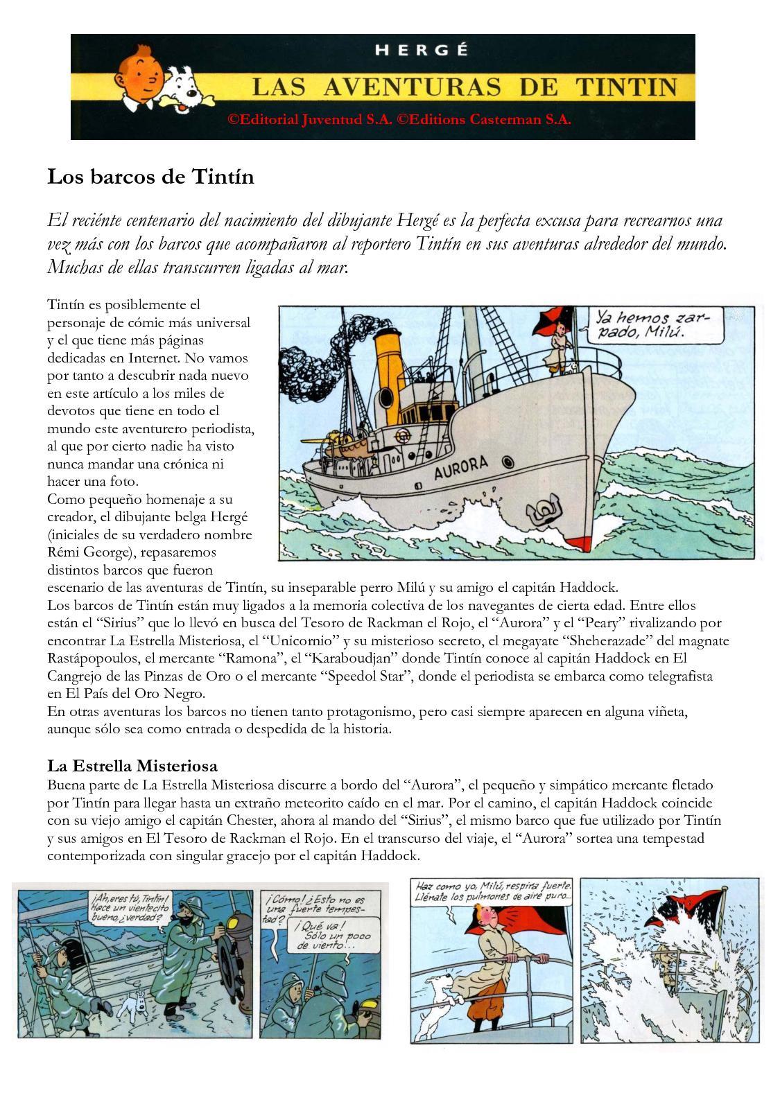 Los barcos de Tintín