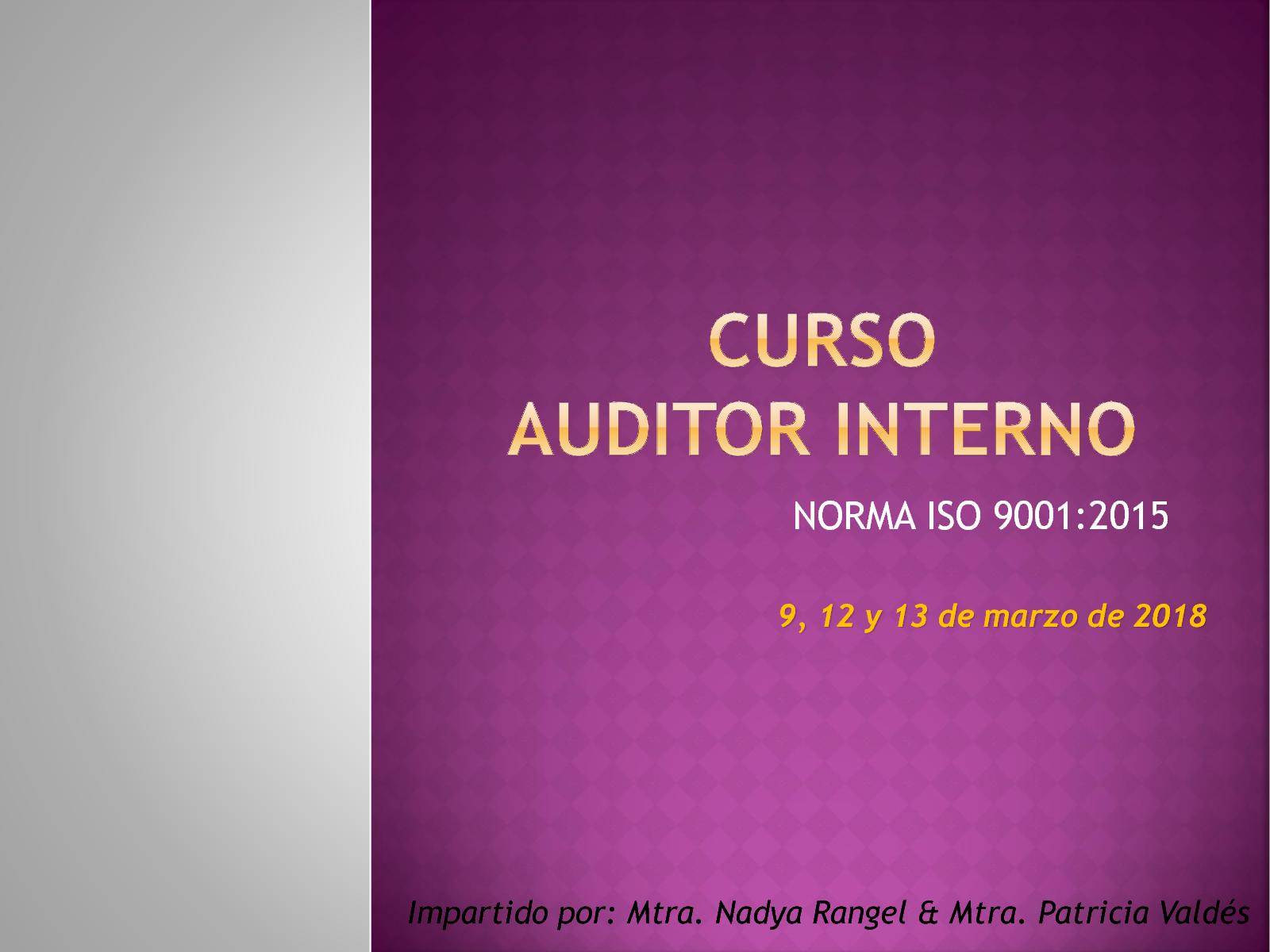 CURSO AUDITORES ISO 9001 2015