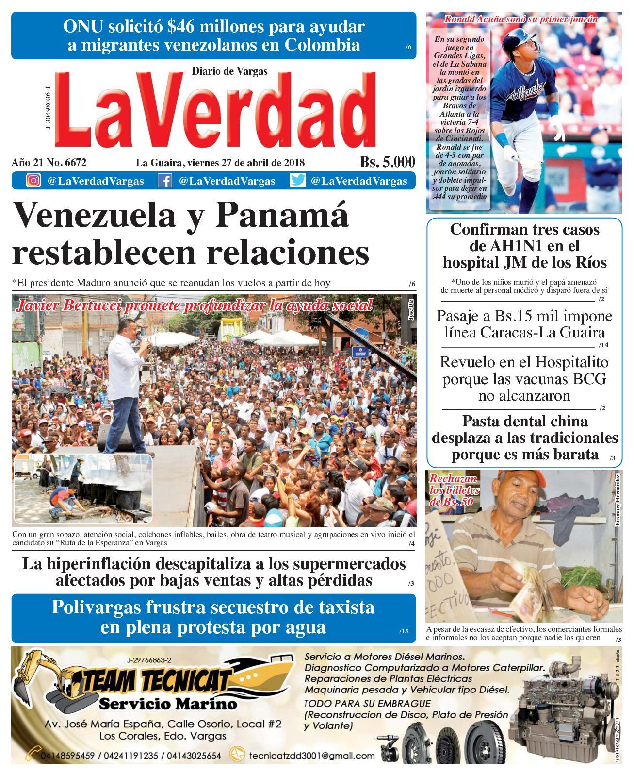 Calaméo - La Guaira, viernes 27 de abril de 2018. Año 20 No 6673.