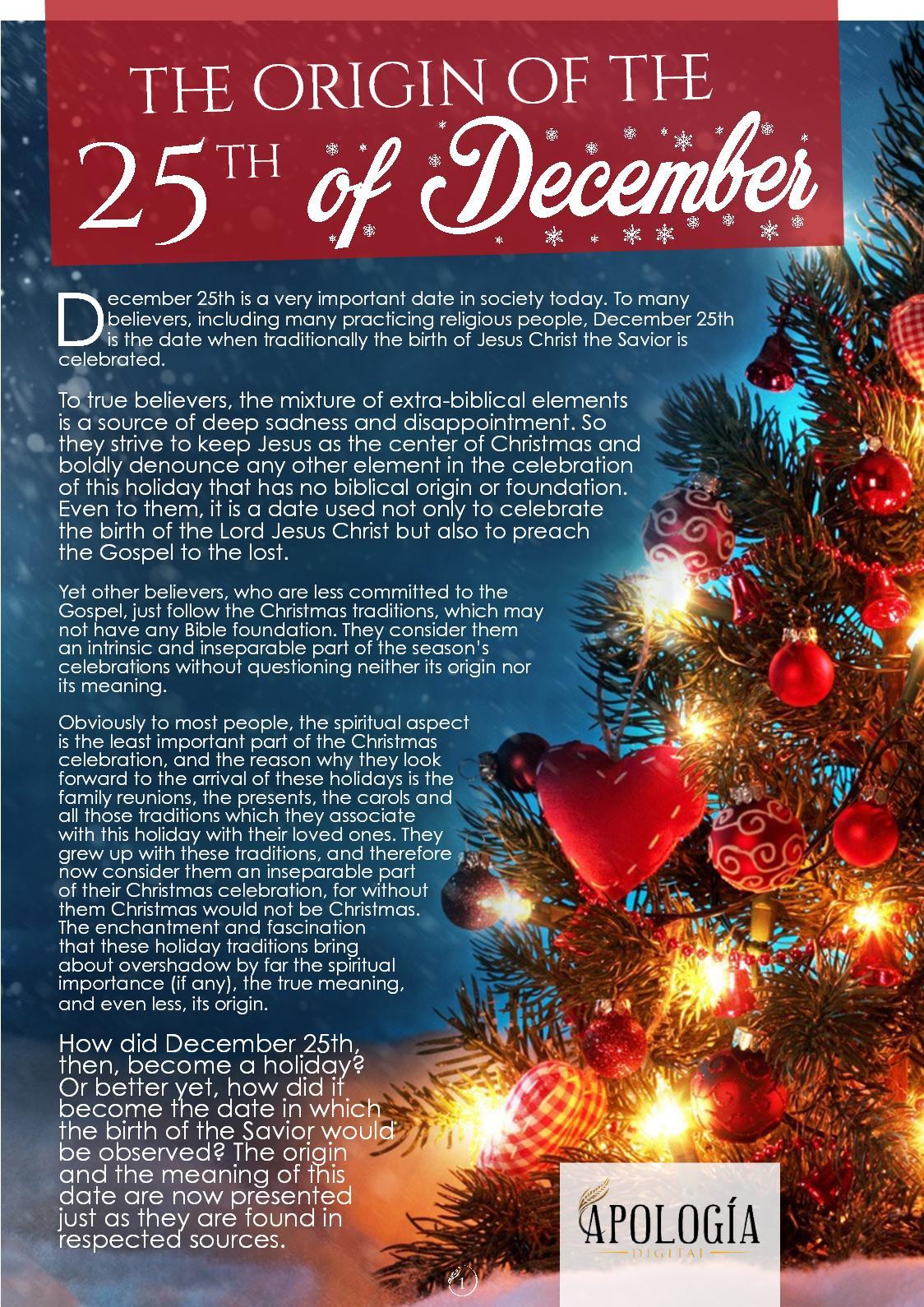 calamo the origin of the 25th of december