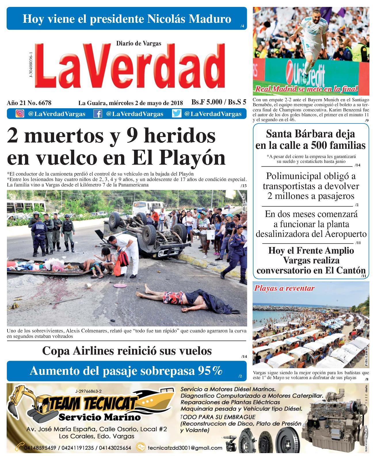 Calaméo - La Guaira, miércoles 2 de mayo de 2018. Año 20 No 6678